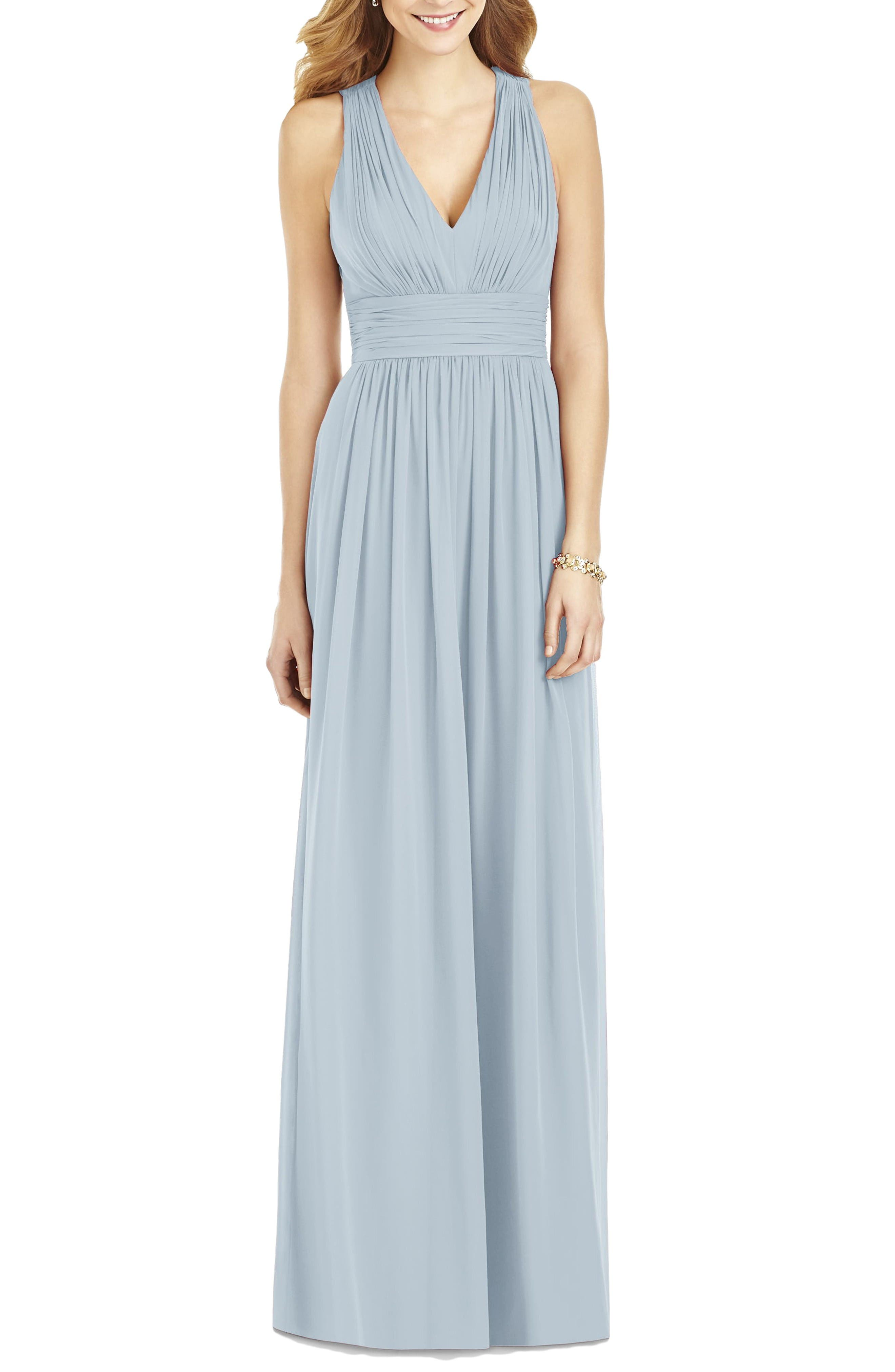 Crisscross Back Ruched Chiffon V-Neck Gown,                         Main,                         color, Mist