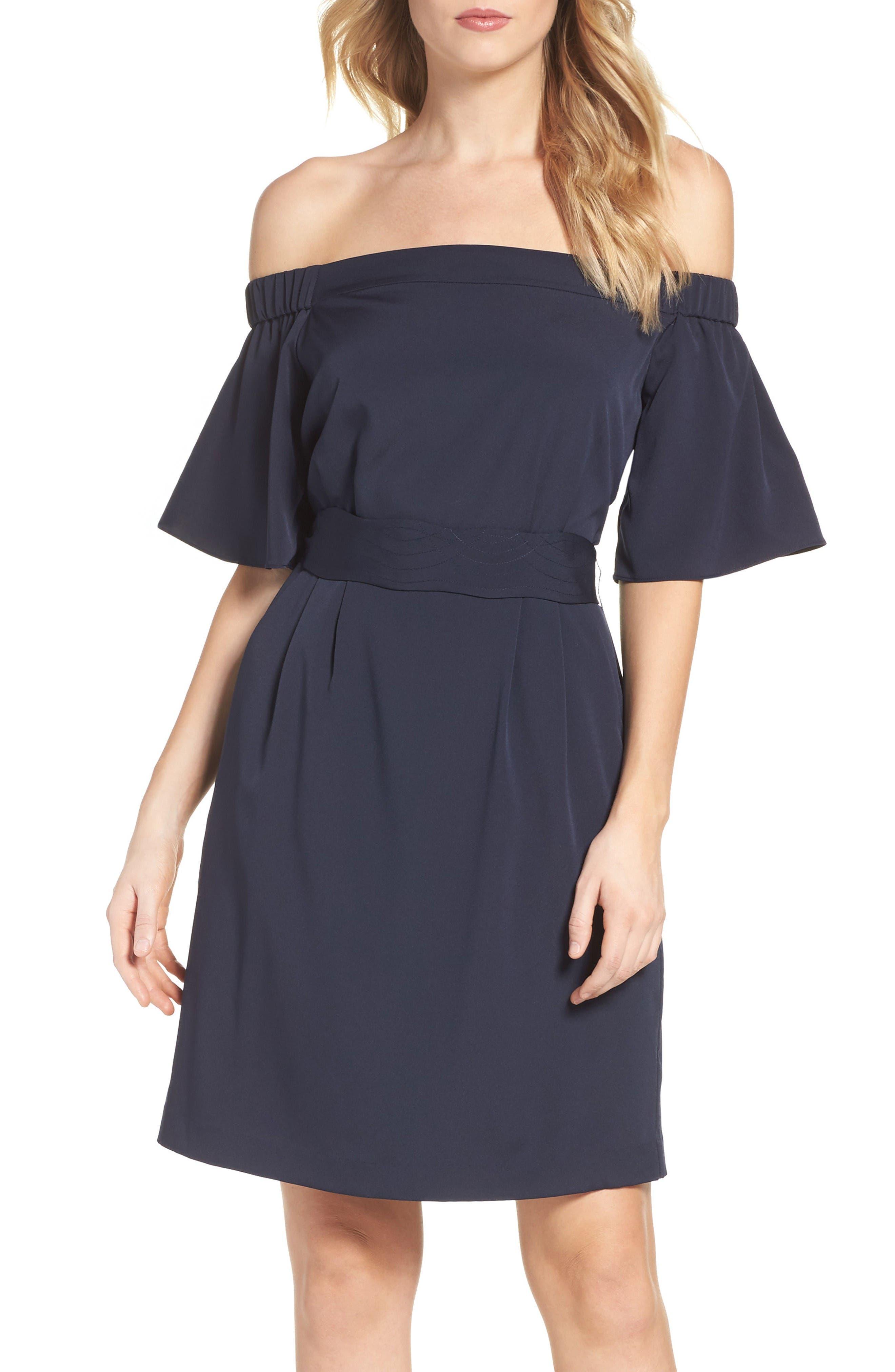 Alternate Image 1 Selected - Eliza J Off the Shoulder Obi Dress (Regular & Petite)