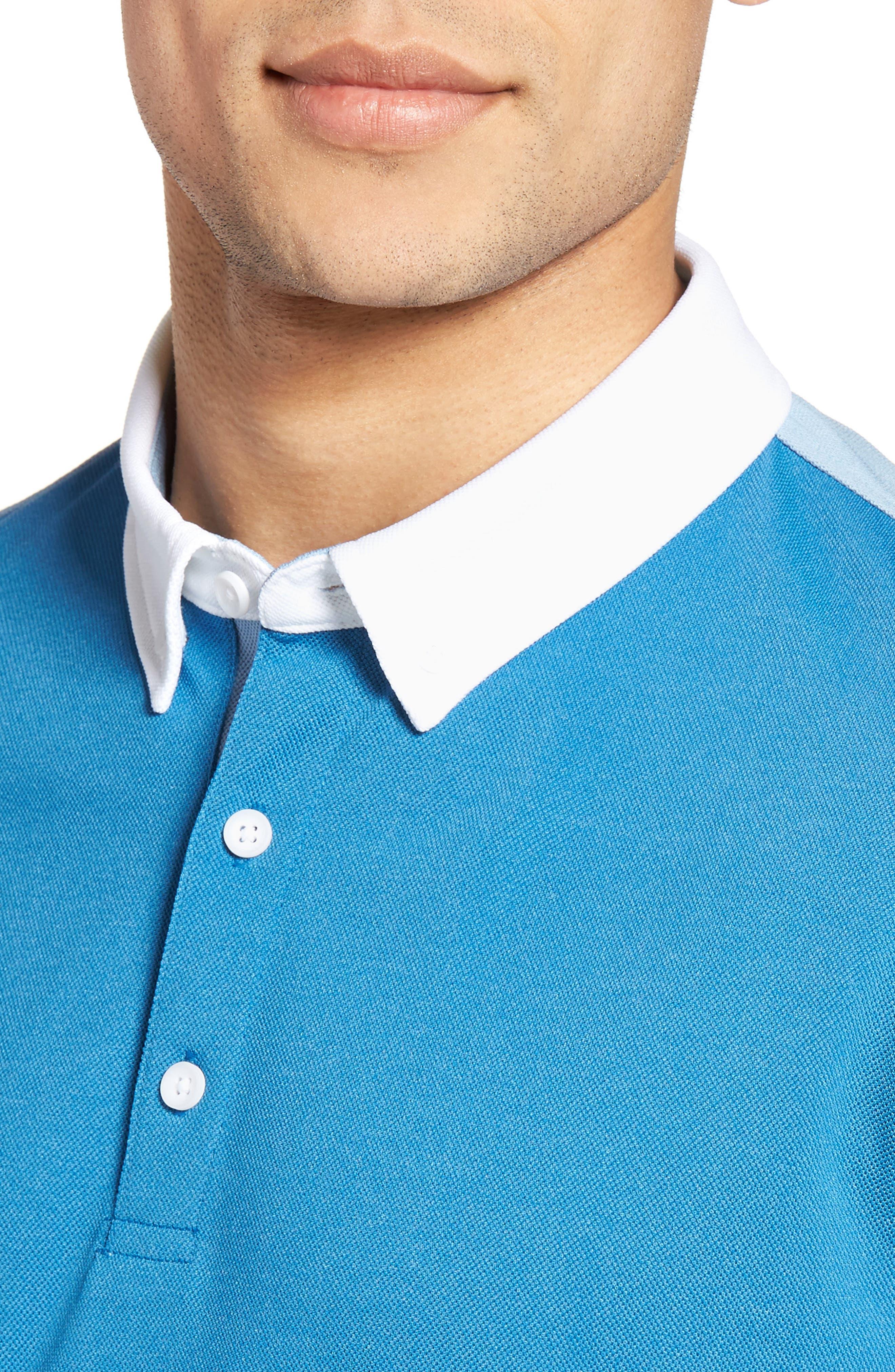 The Deuce Colorblock Piqué Polo,                             Alternate thumbnail 4, color,                             Blue Creek/ Clear Sky/ White