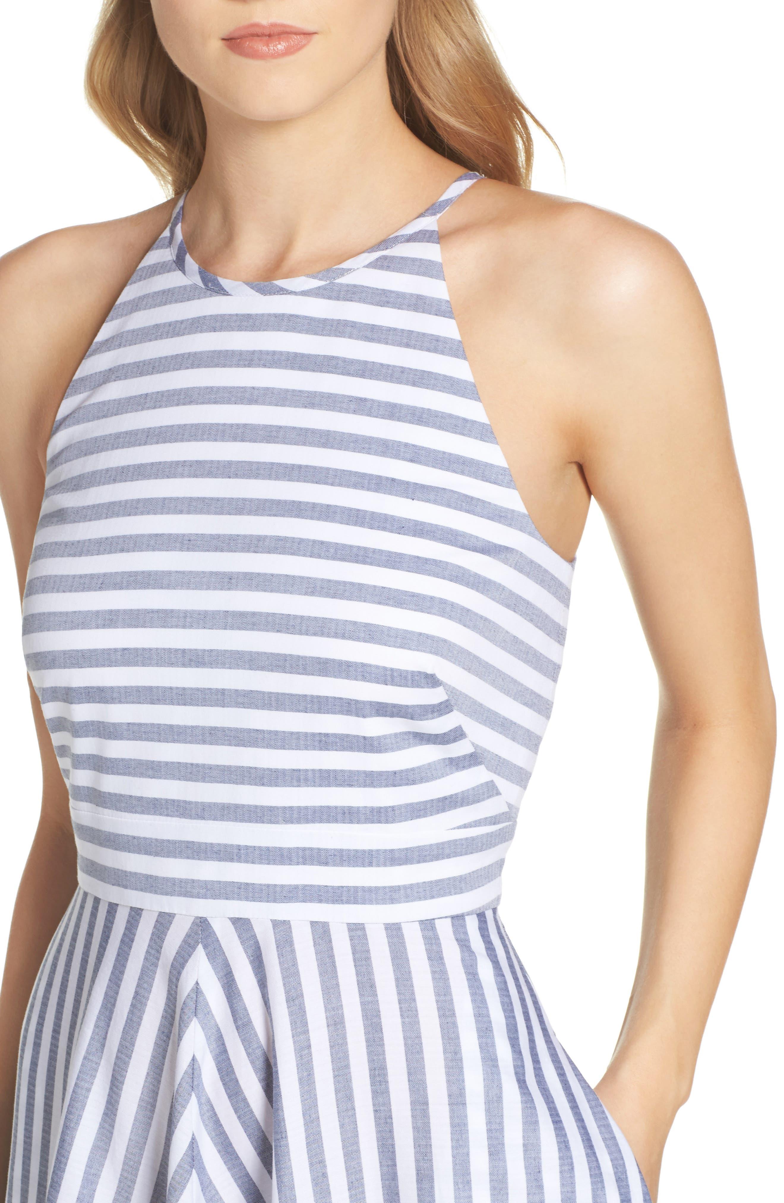 Stripe Fit & Flare Dress,                             Alternate thumbnail 4, color,                             Navy/ Ivory