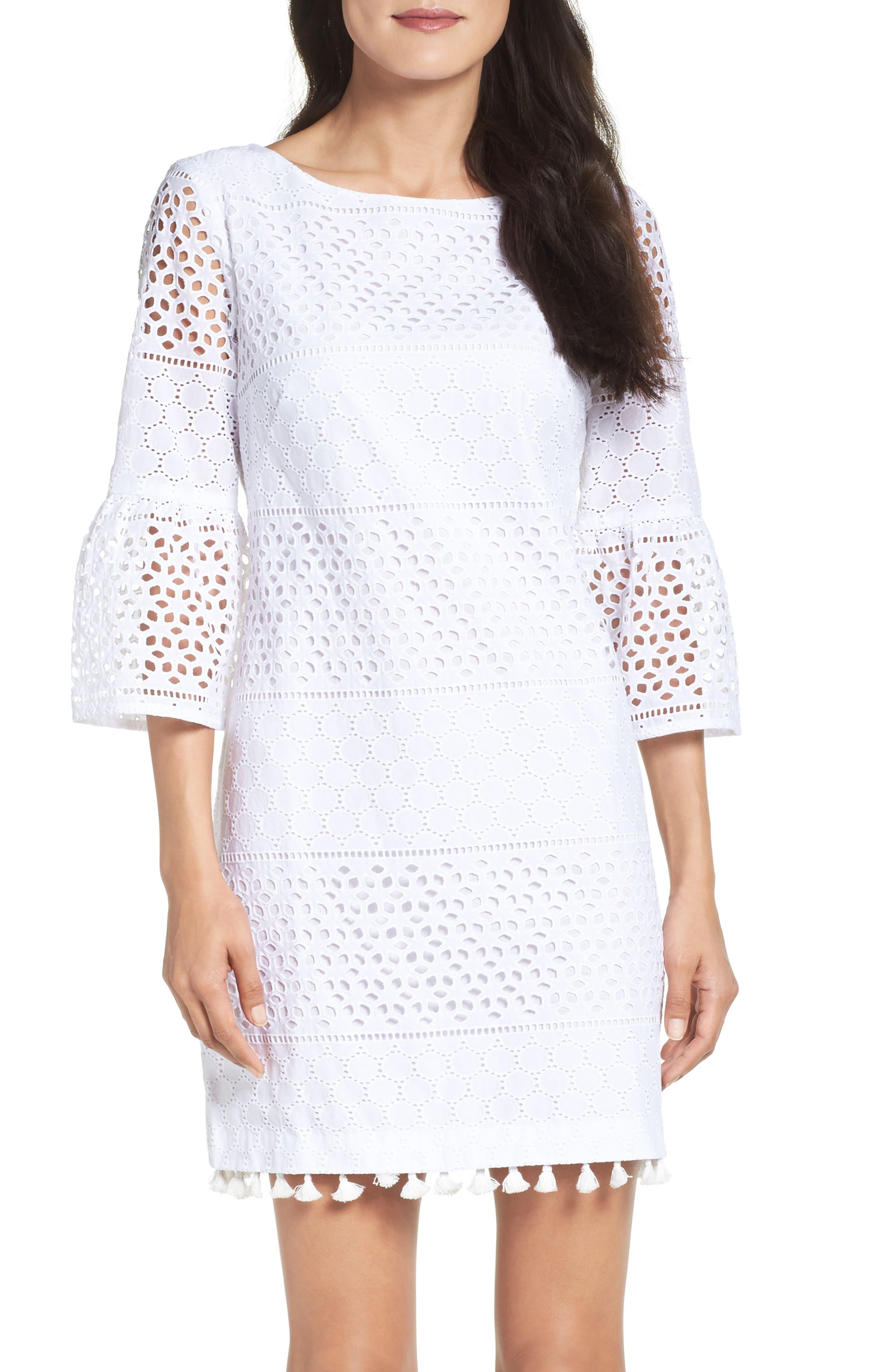 Alternate Image 1 Selected - Vince Camuto Eyelet A-Line Dress (Regular & Petite)