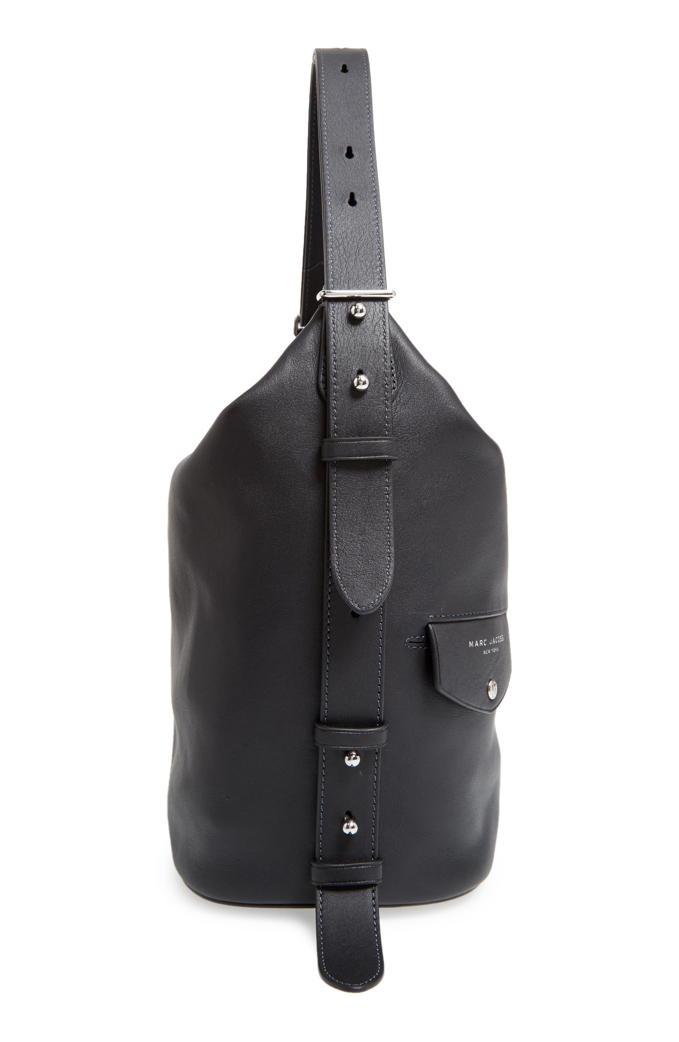 The Sling Convertible Leather Hobo,                             Alternate thumbnail 5, color,                             Black