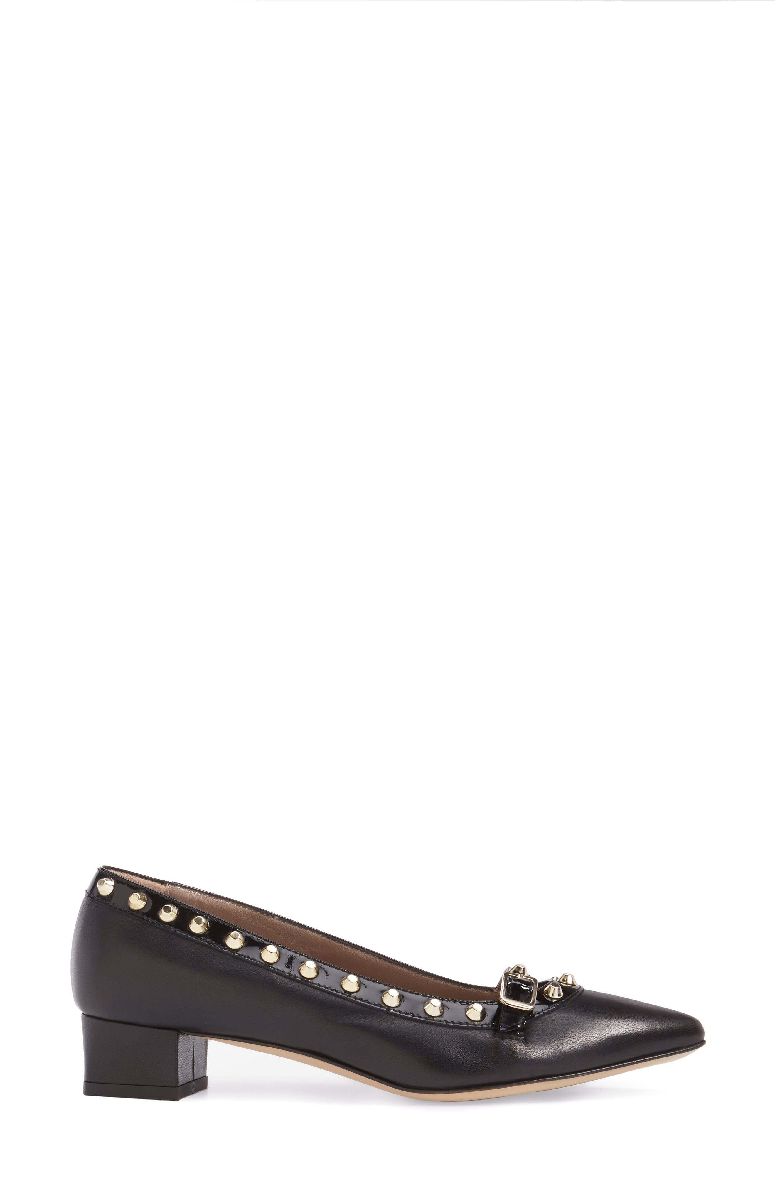 Studded Mary Jane Pump,                             Alternate thumbnail 3, color,                             Black Leather