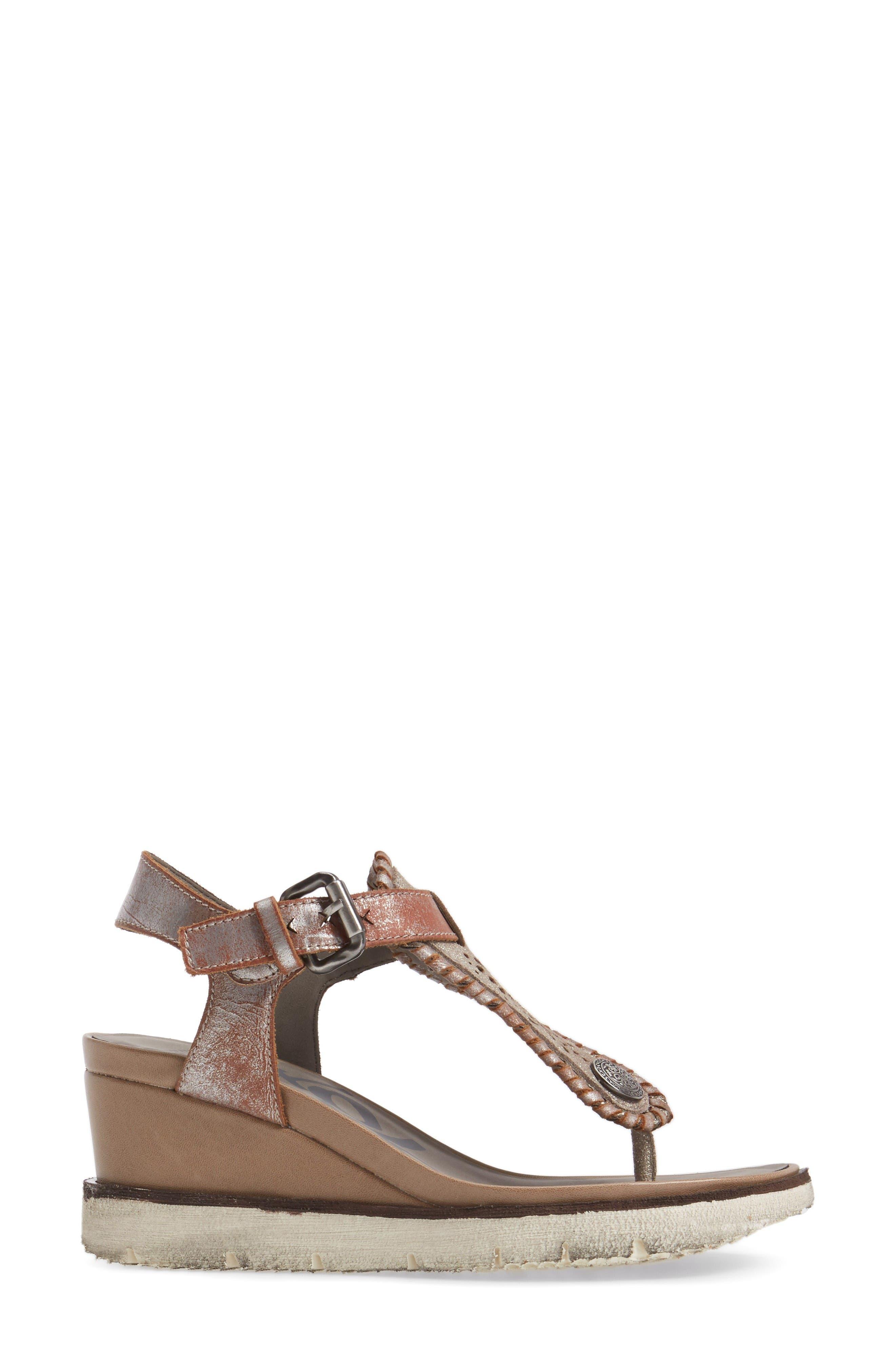 Excursion Wedge Sandal,                             Alternate thumbnail 3, color,                             Cloudburst Leather