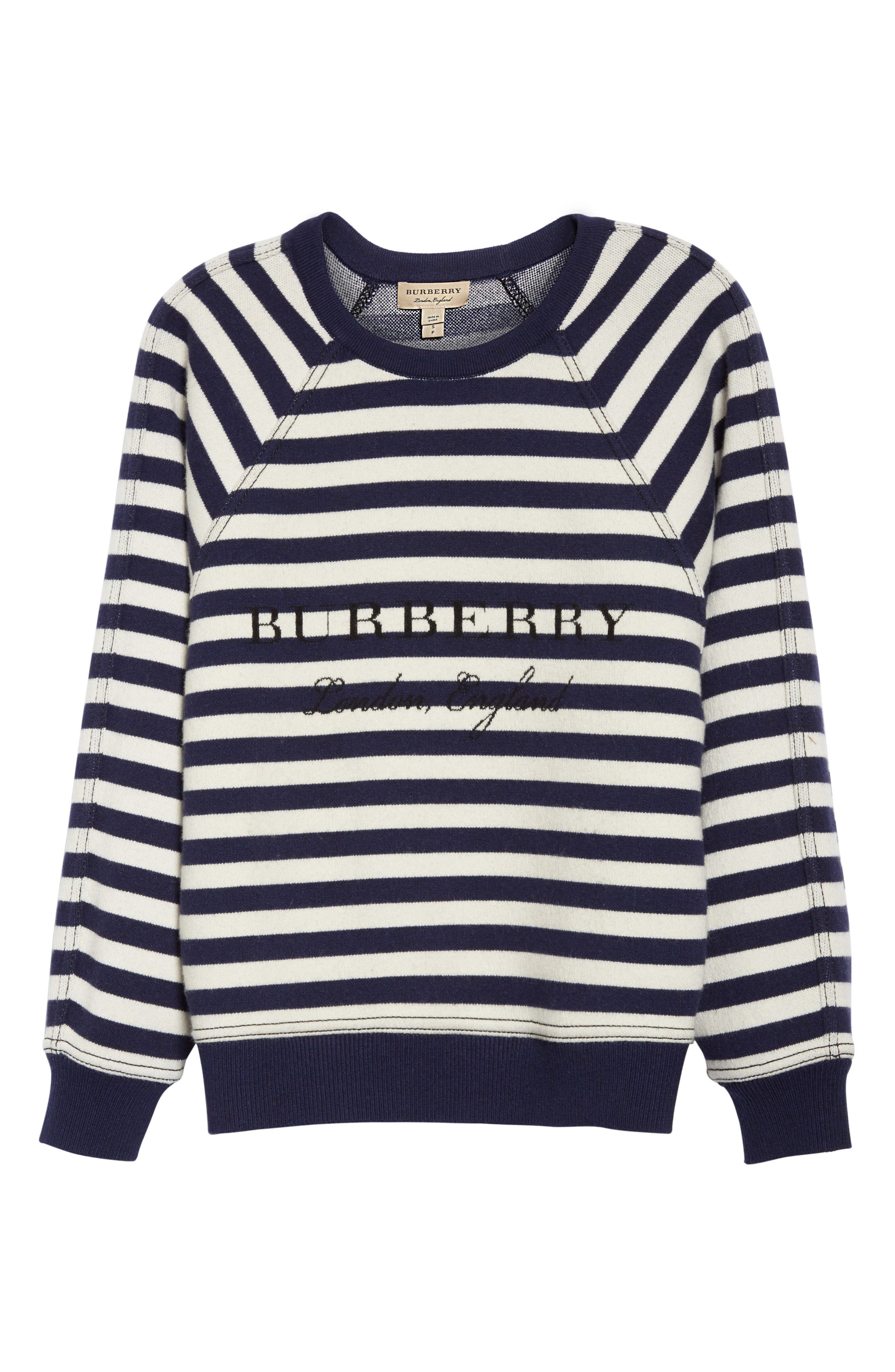 Selune Stripe Wool & Cashmere Sweater,                             Alternate thumbnail 4, color,                             Navy