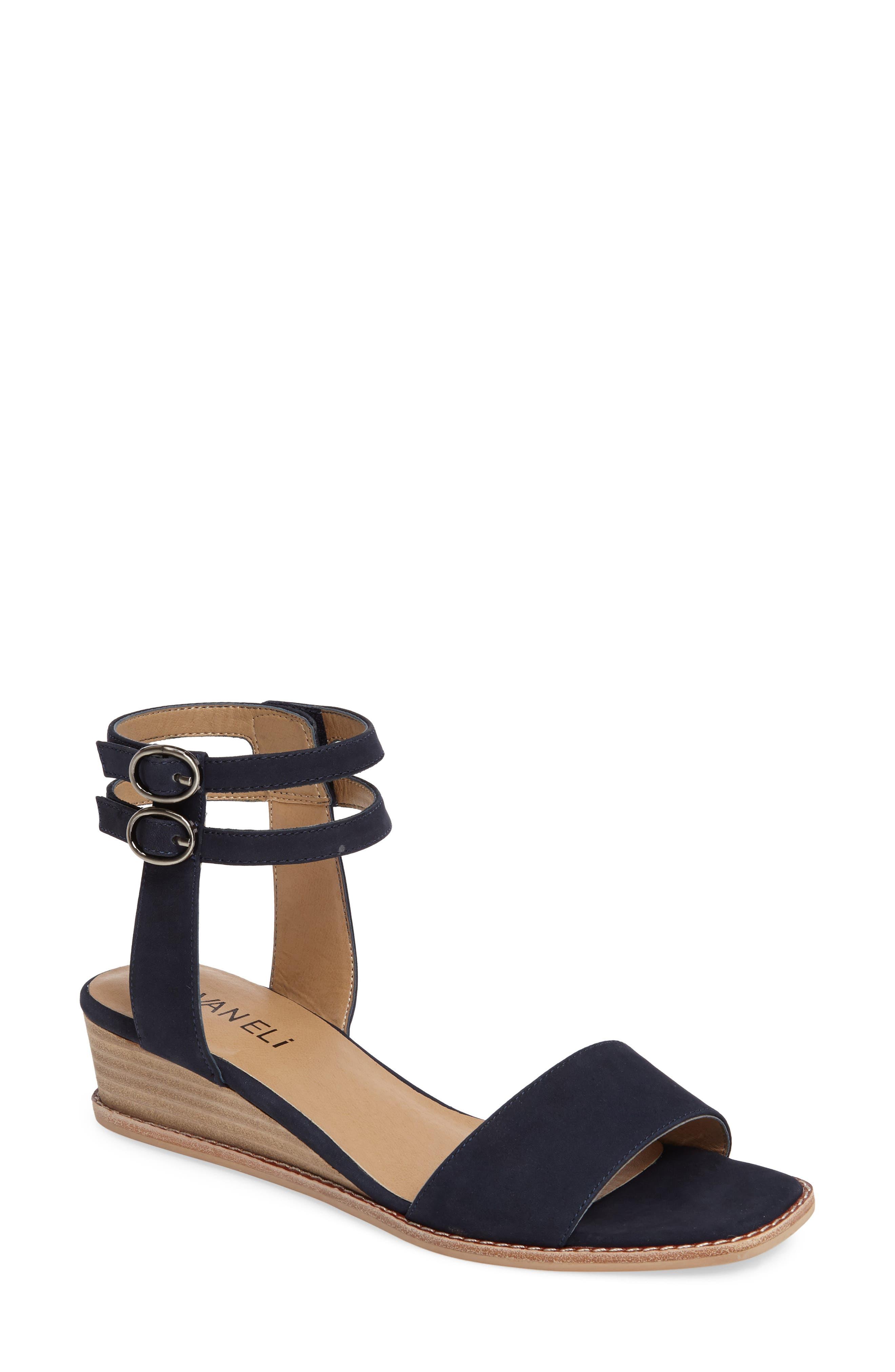 Jarita Ankle Strap Sandal,                         Main,                         color, Navy Leather