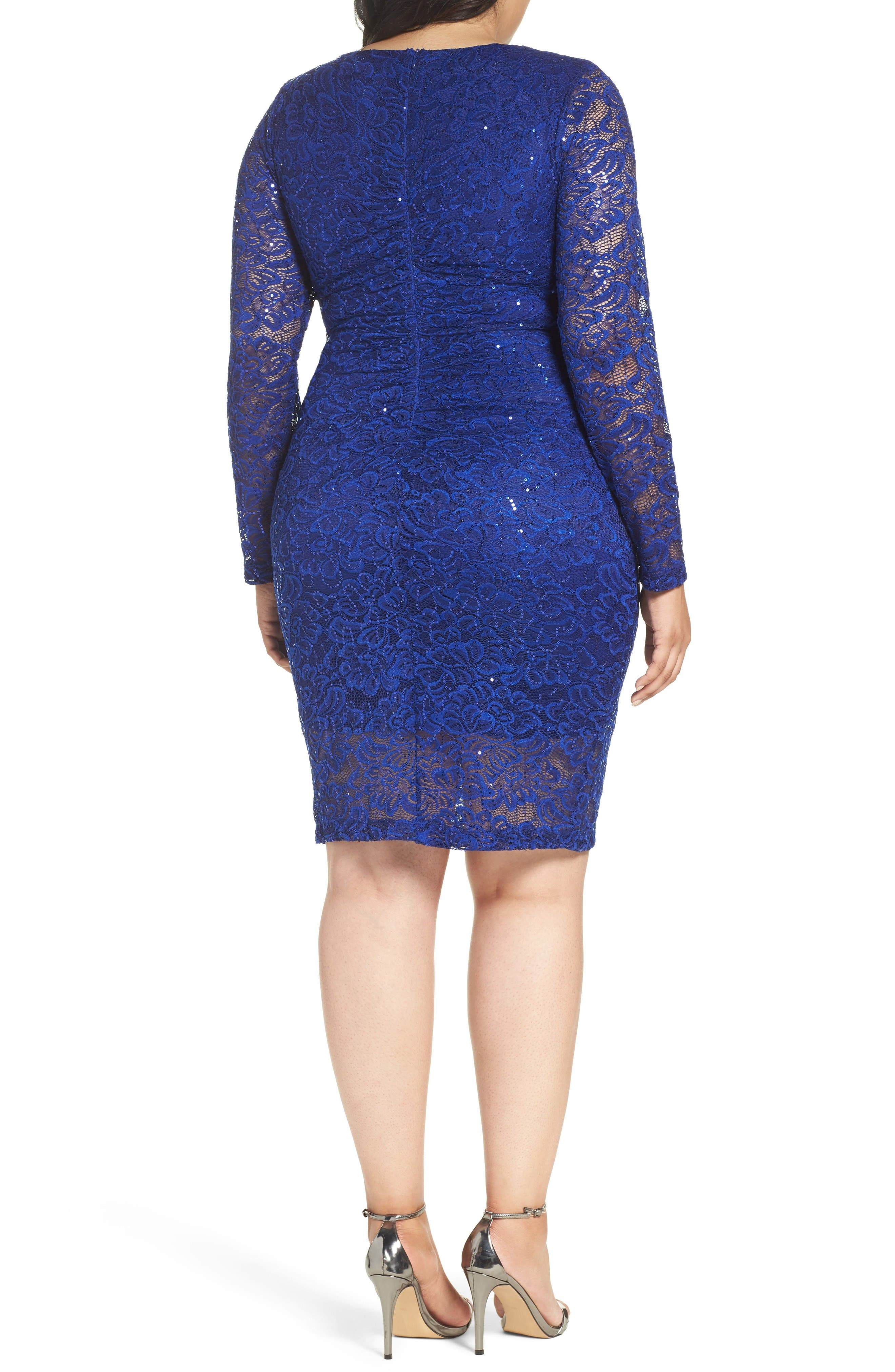 Keyhole Lace Sheath Dress,                             Alternate thumbnail 2, color,                             Royal
