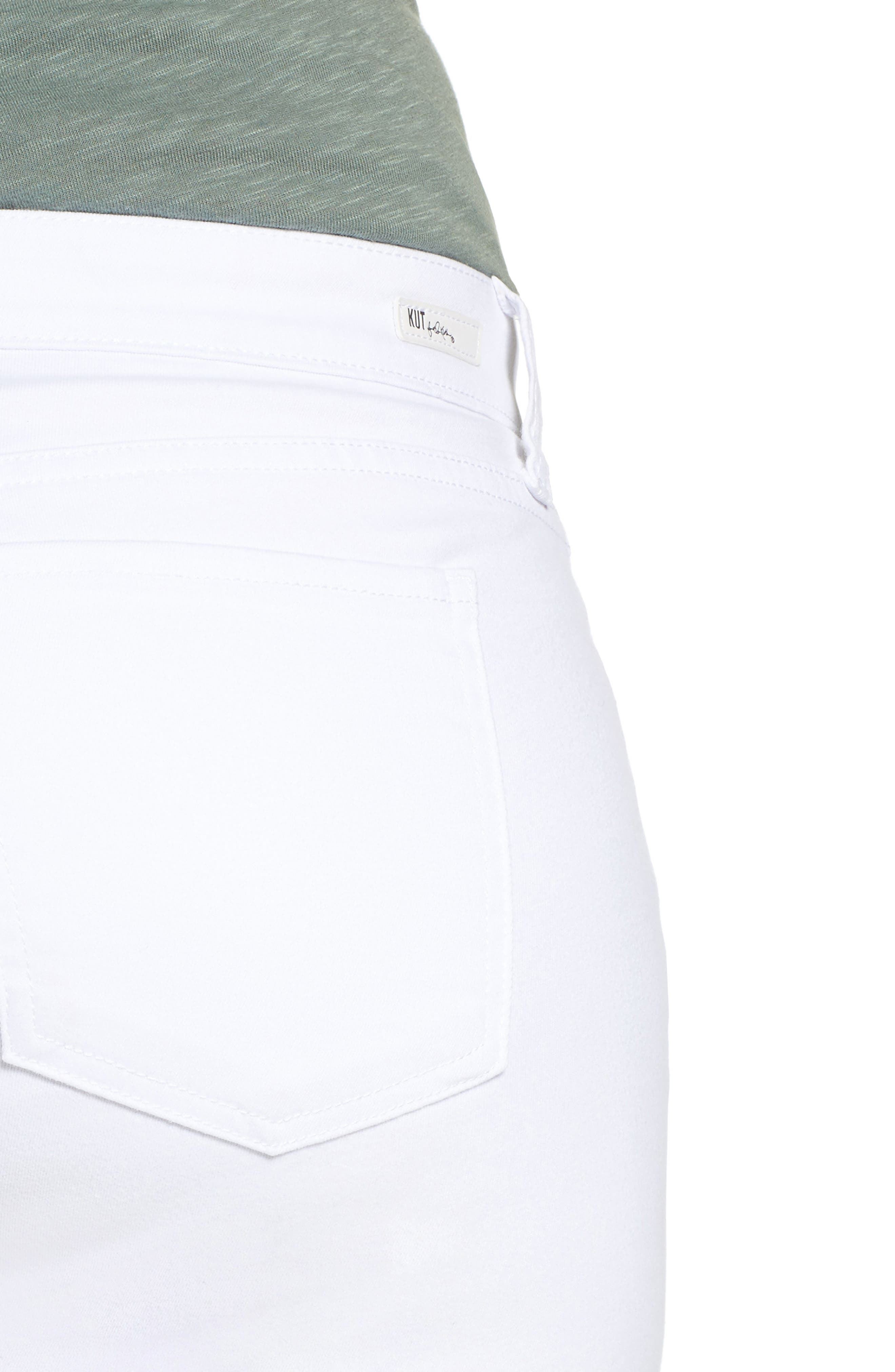 Alternate Image 4  - KUT from the Kloth Catherine Distressed Wide Cuff Boyfriend Jeans (Optic White) (Plus Size)