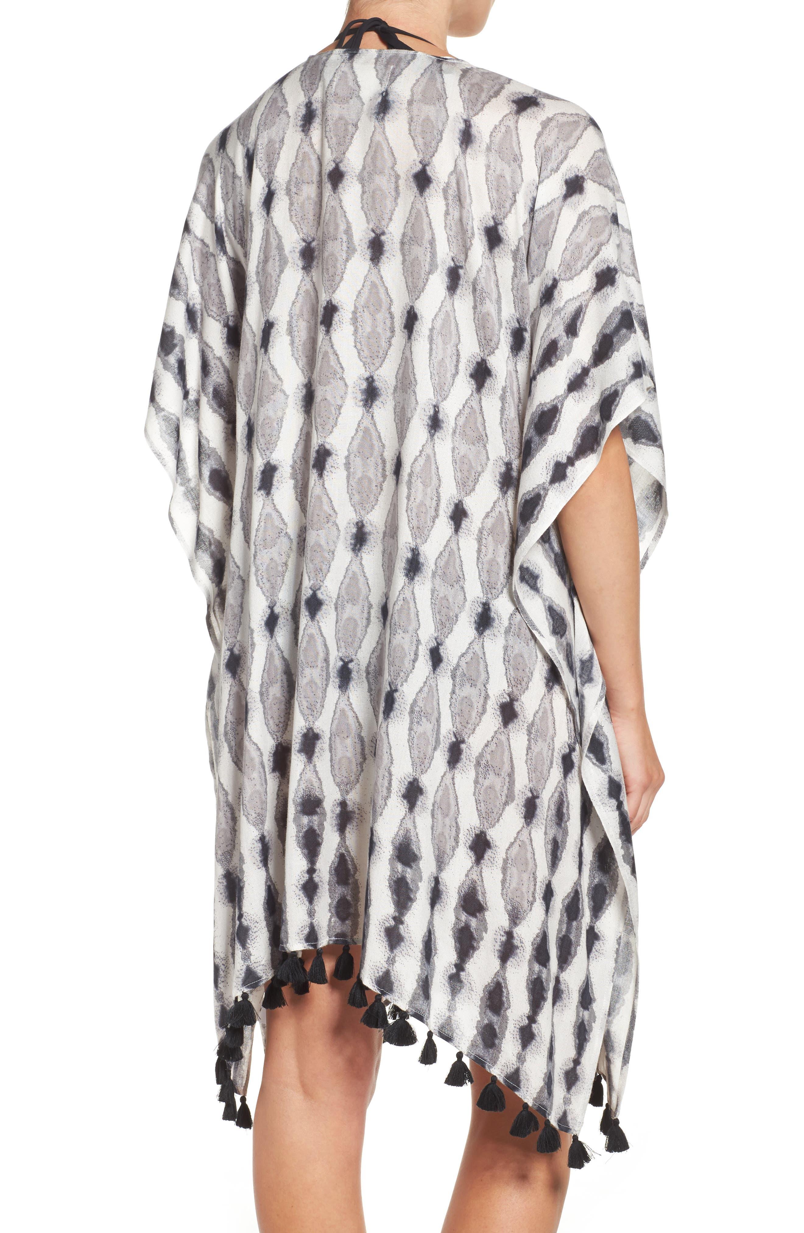 Caslon<sup>®</sup> Tie Dye Tassel Wrap,                             Alternate thumbnail 2, color,                             Black Combo