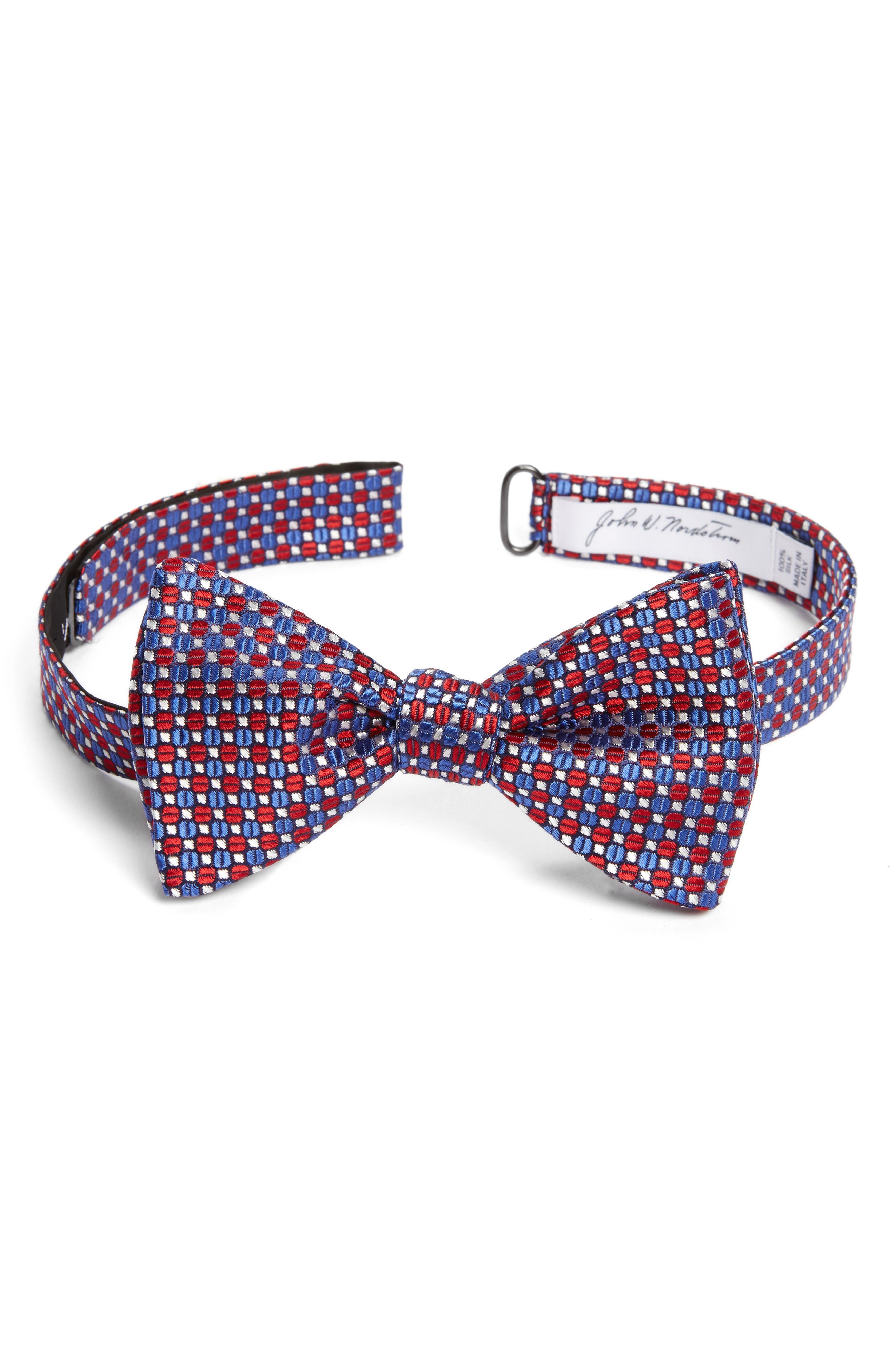Geometric Silk Bow Tie,                             Main thumbnail 1, color,                             Red