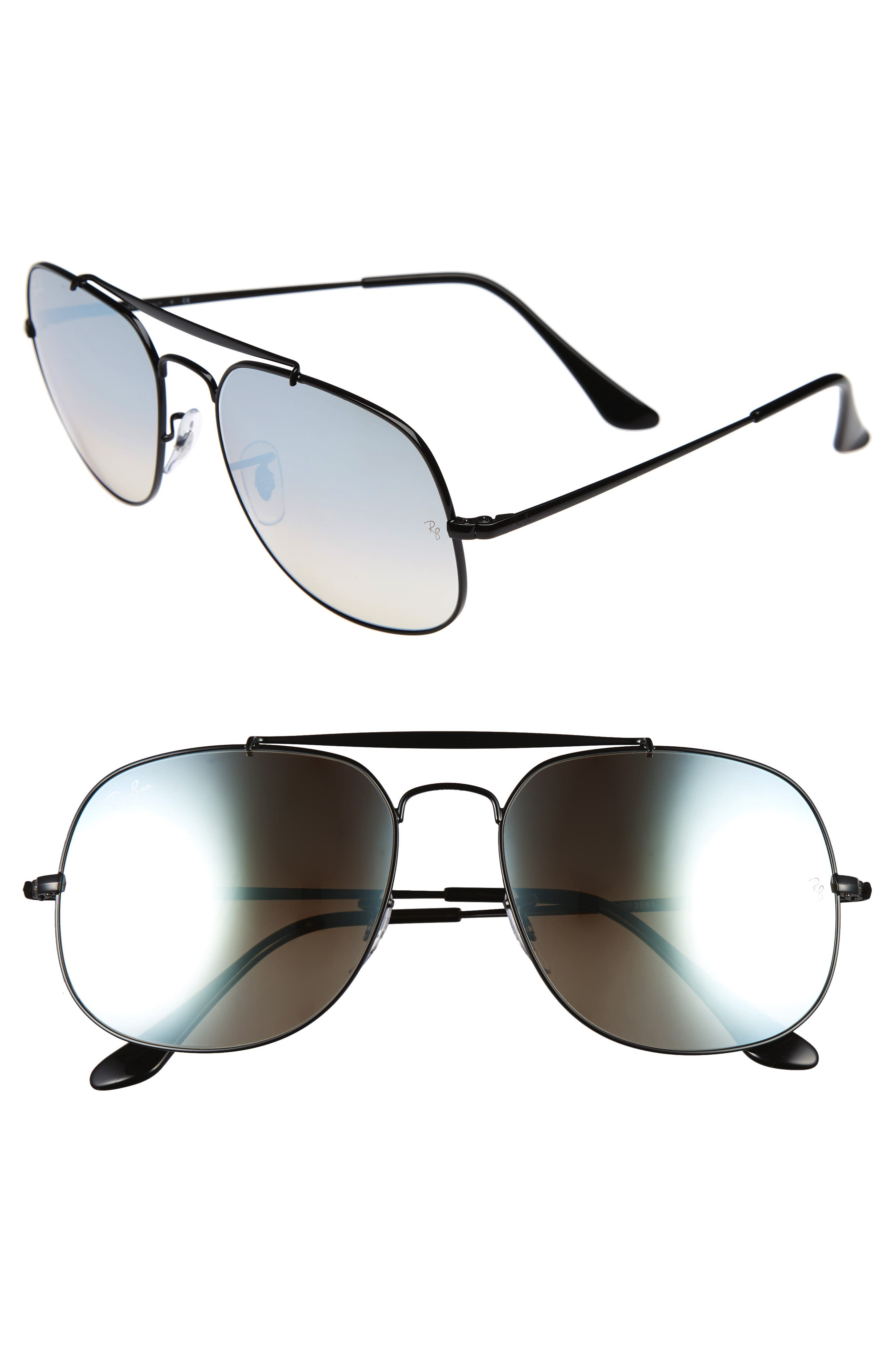 57mm Aviator Sunglasses,                         Main,                         color, Black