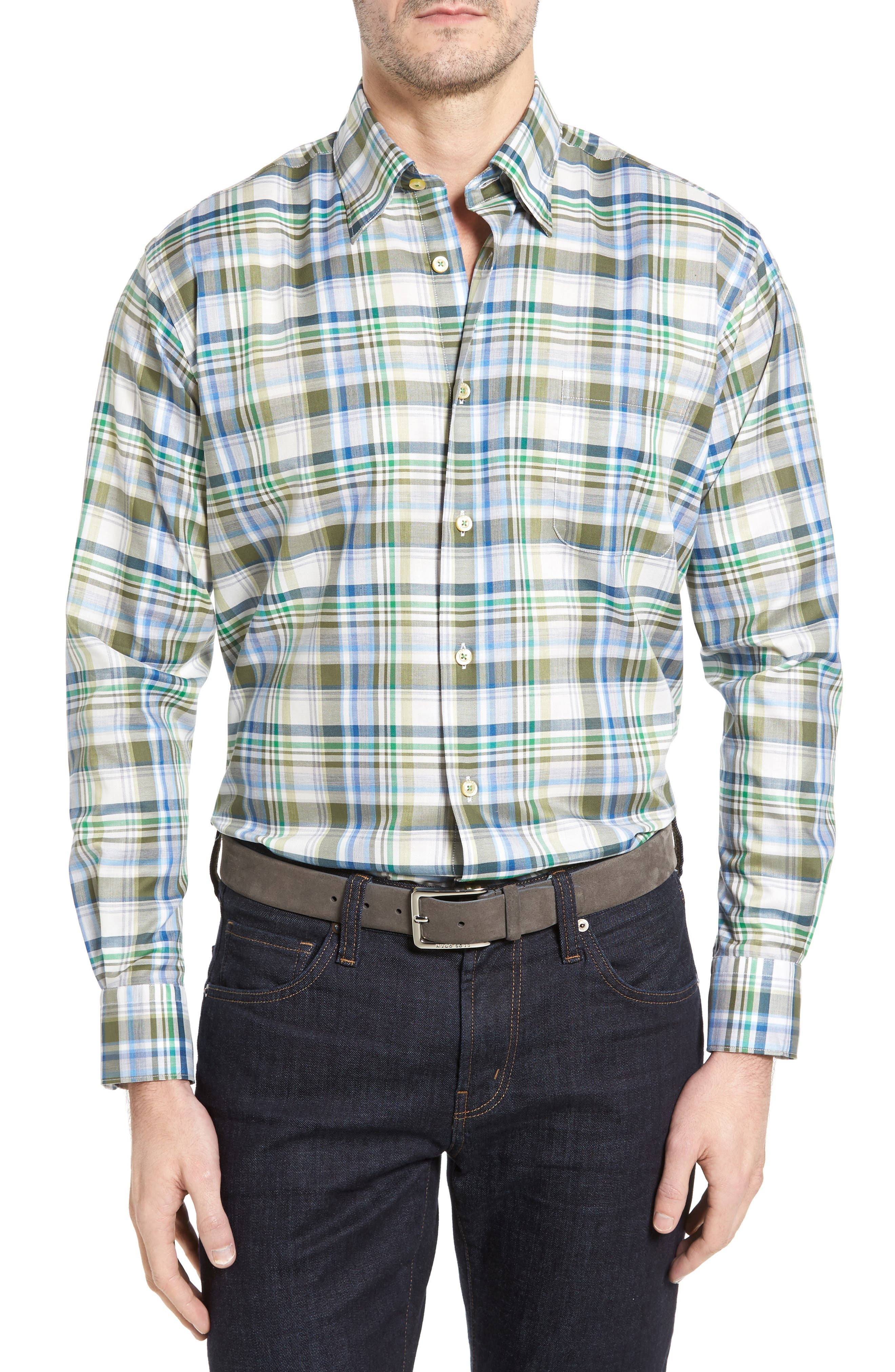 Anderson Classic Fit Plaid Micro Twill Sport Shirt,                         Main,                         color, Green