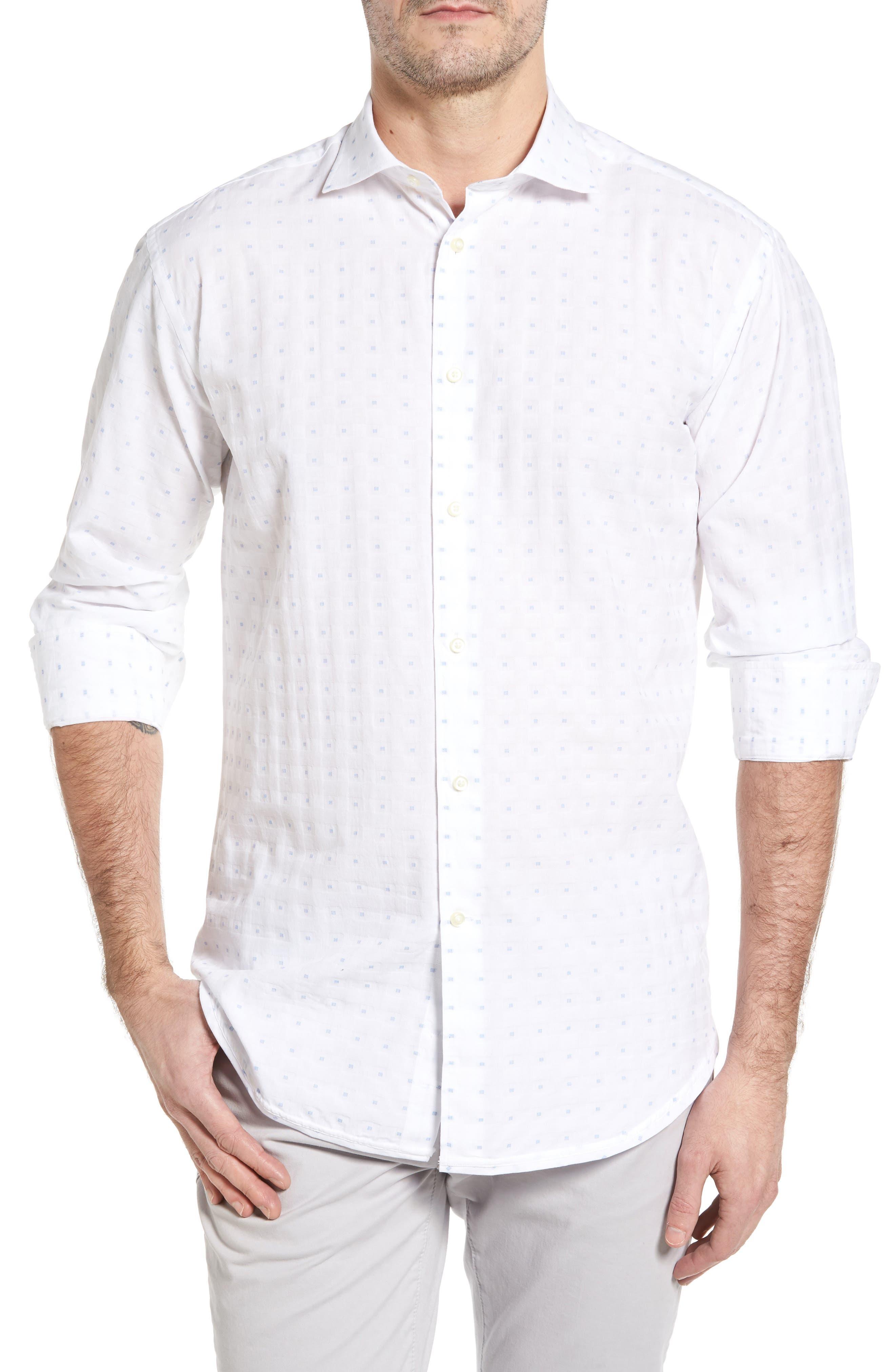 Classic Fit Fil Coupé Sport Shirt,                         Main,                         color, White