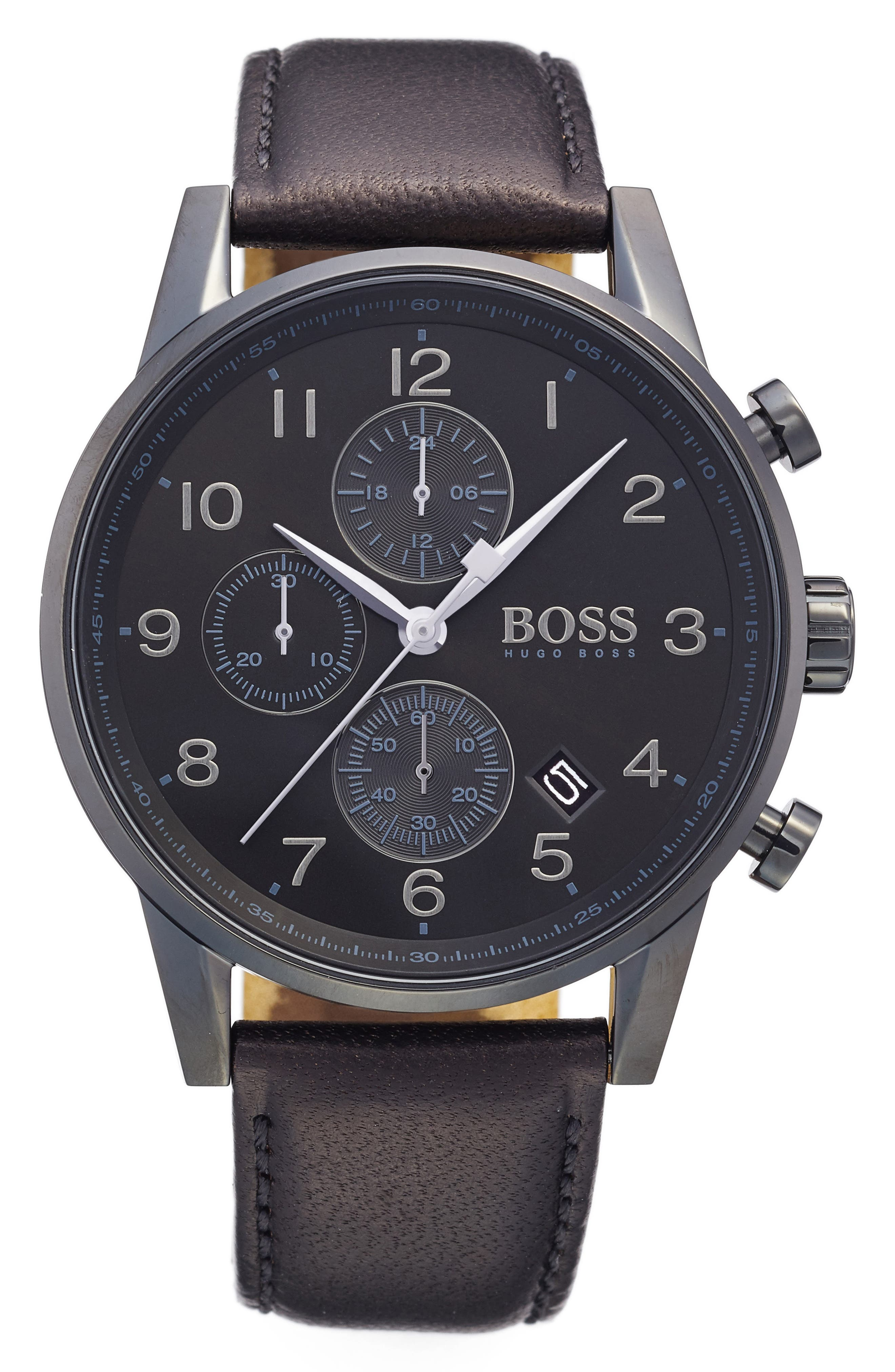 Chronograph Leather Strap Watch, 44mm,                         Main,                         color, Black/ Black