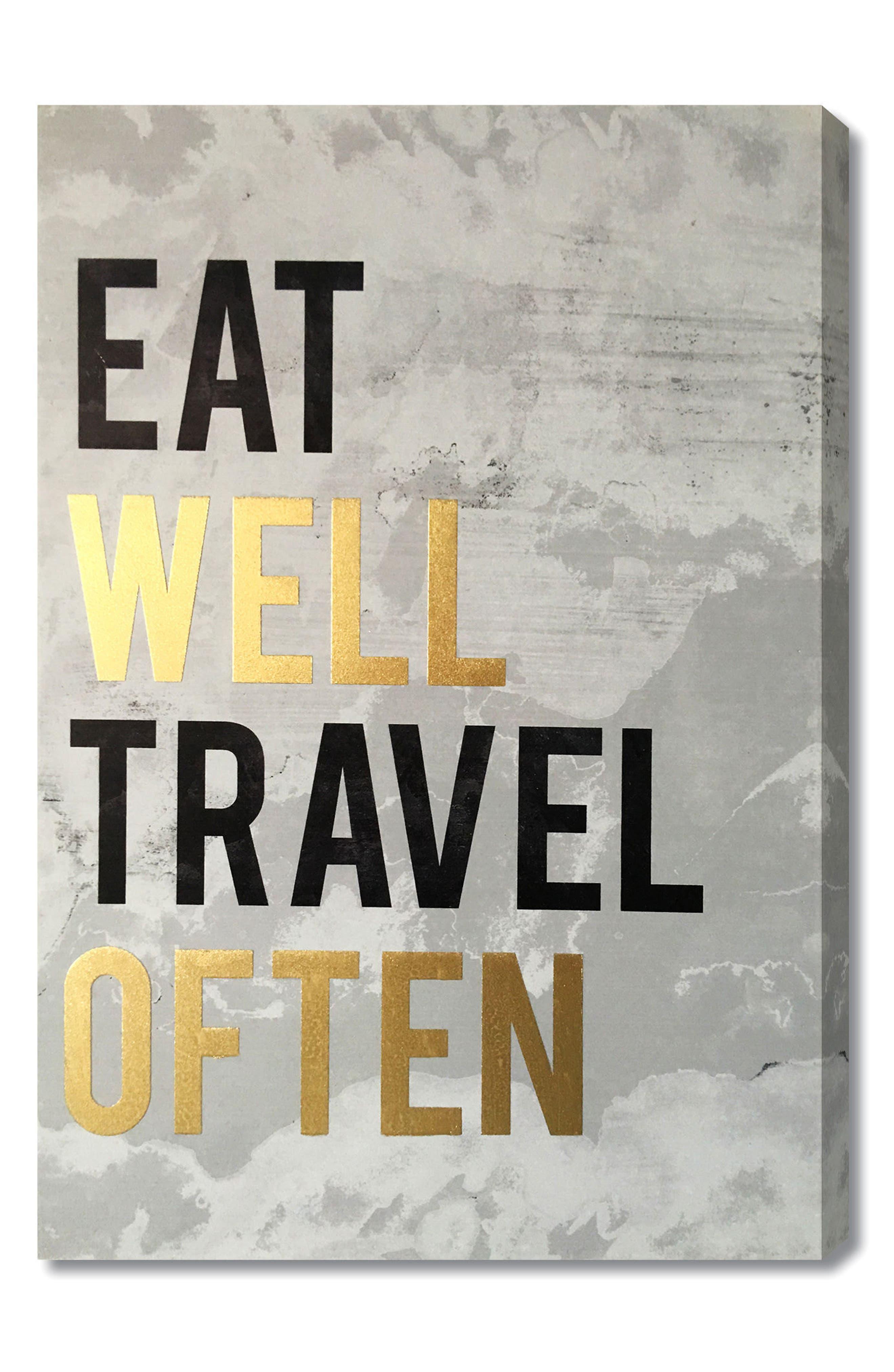 Wynwood Eat Well Travel Often Wall Art,                         Main,                         color, Grey
