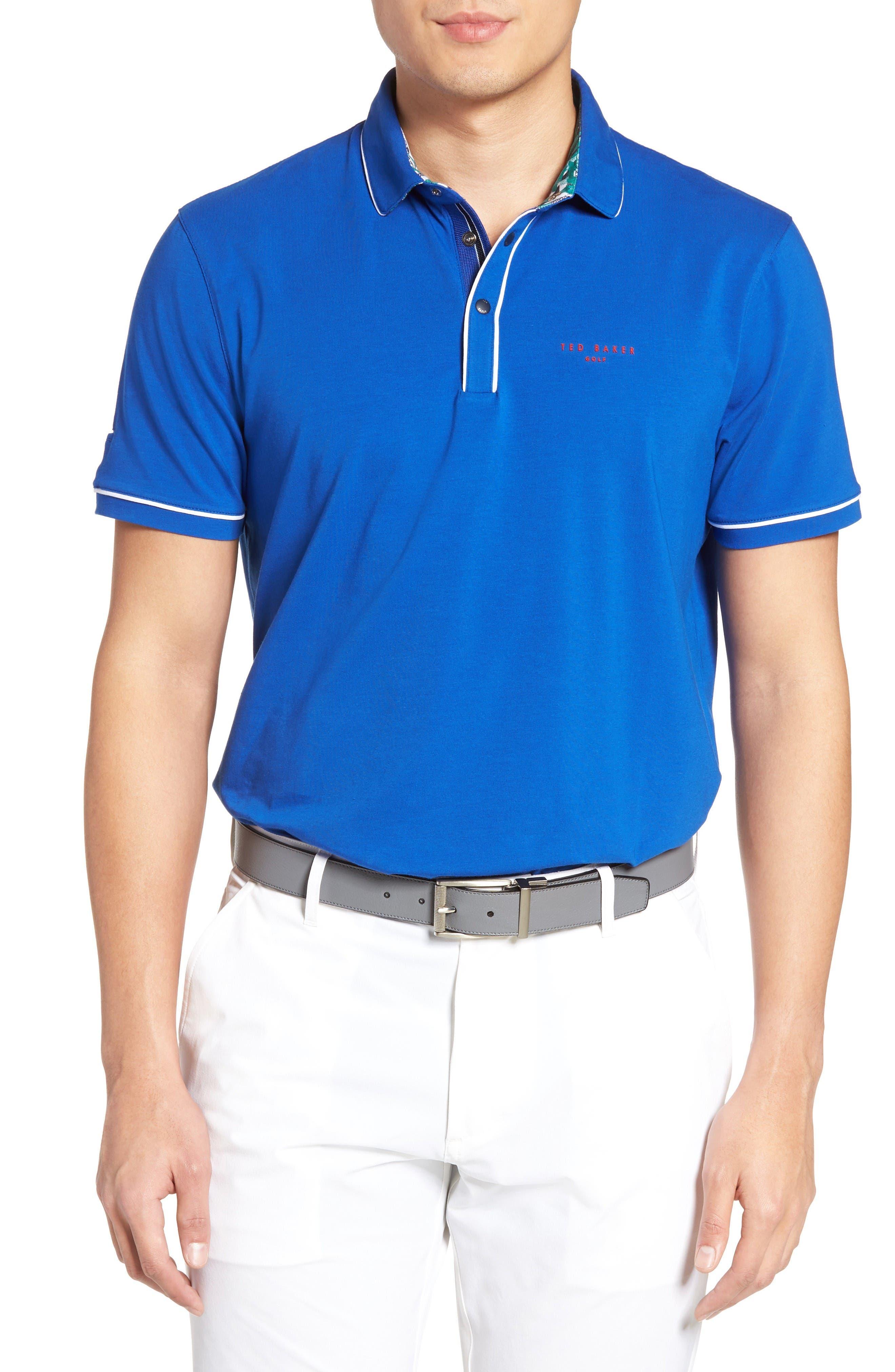 Playgo Piped Trim Golf Polo,                         Main,                         color, Blue