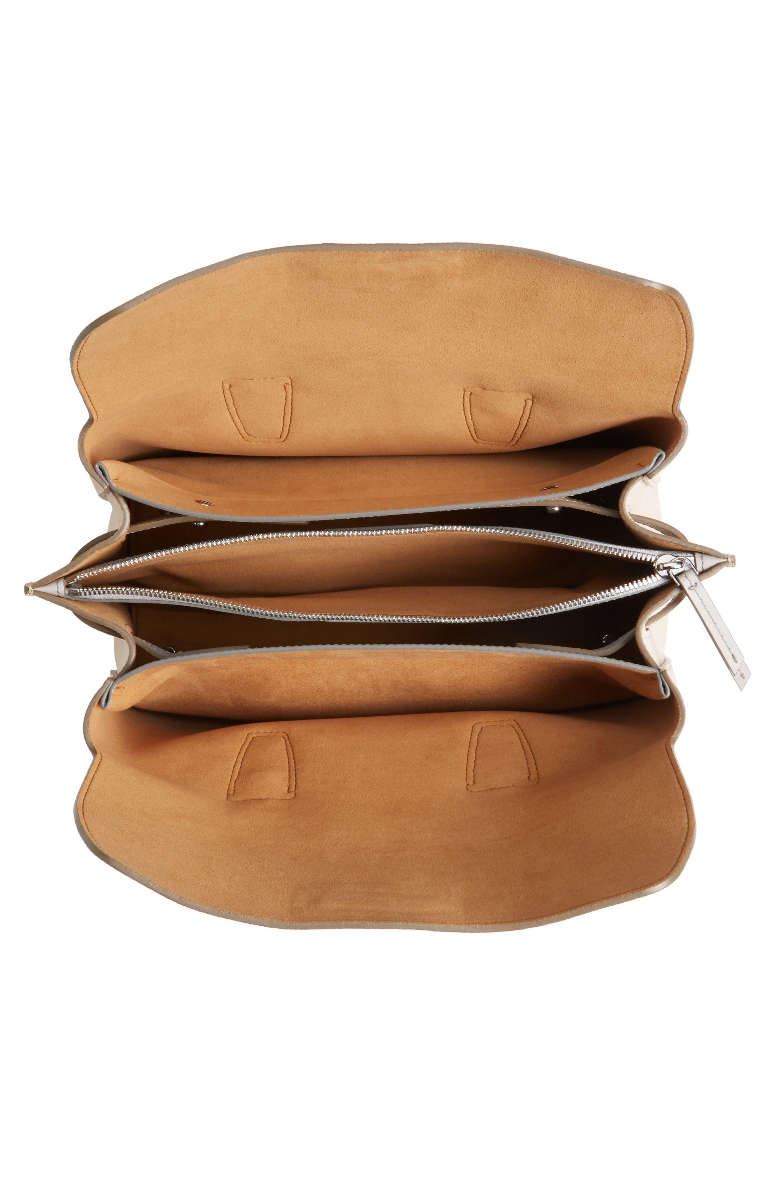 Medium Milla Leather Tote,                             Alternate thumbnail 4, color,                             Beige