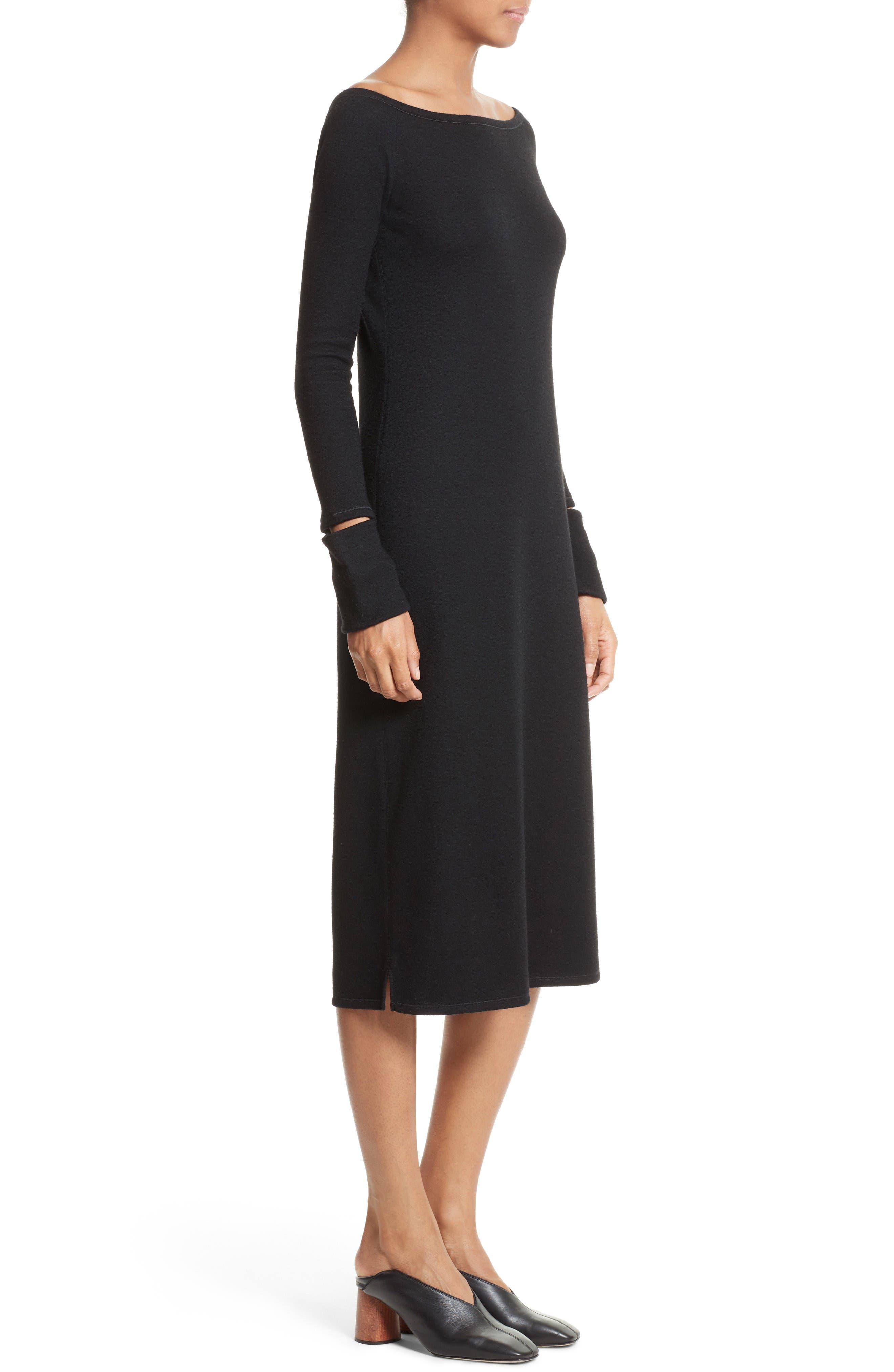 Slash Cuff Wool Blend Dress,                             Alternate thumbnail 3, color,                             Black
