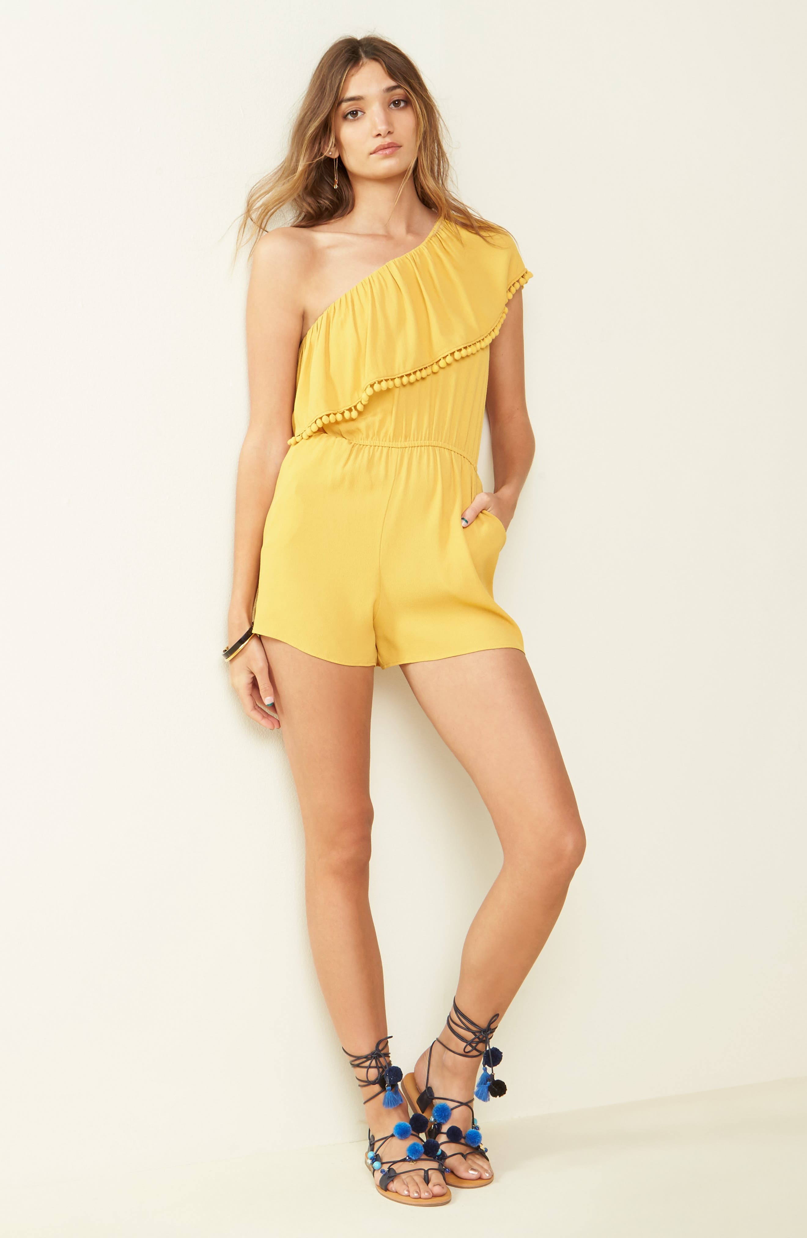 One-Shoulder Ruffle Romper,                             Alternate thumbnail 2, color,                             Yellow