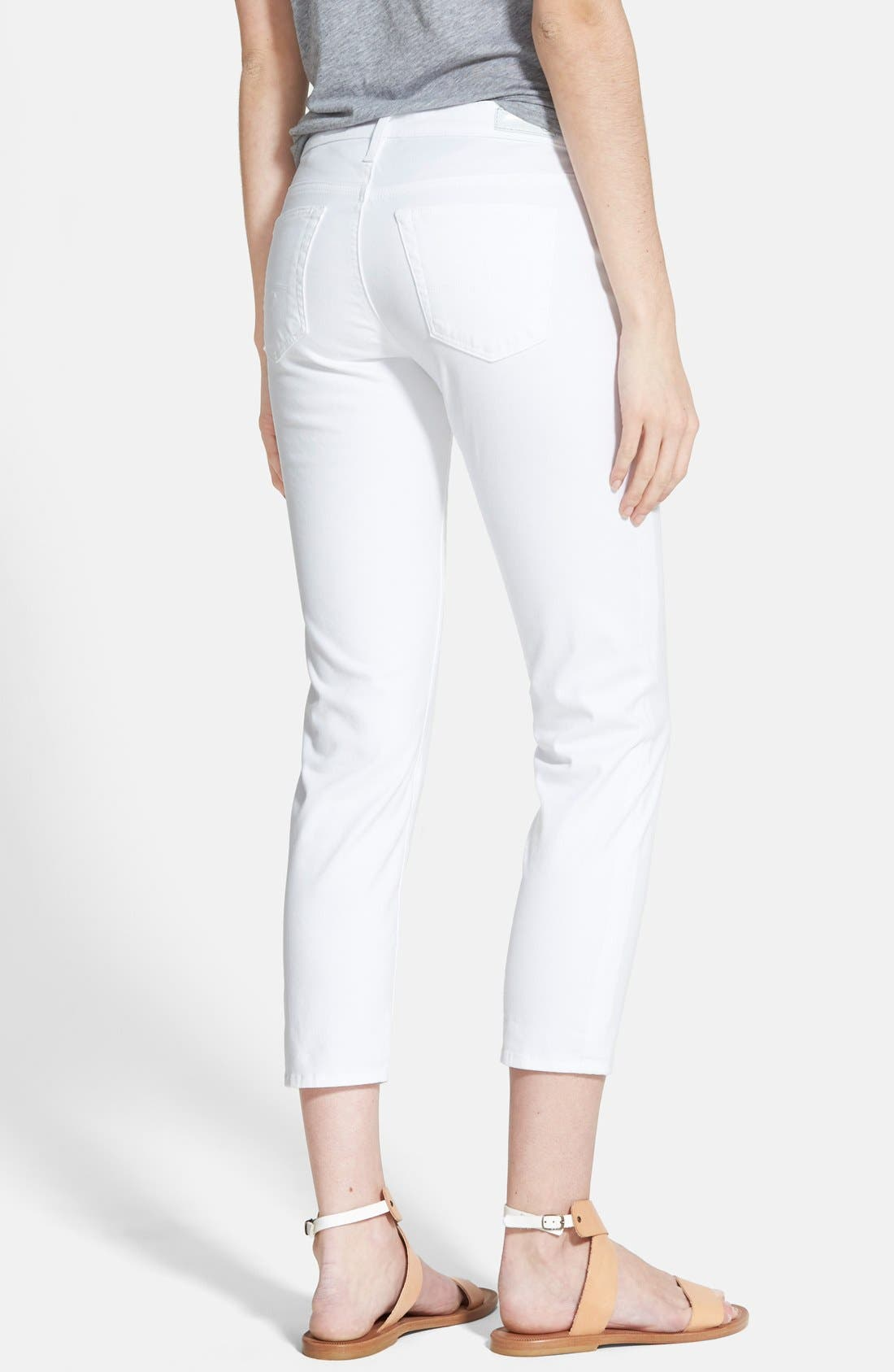'Stilt' Cigarette Leg Crop Jeans,                             Alternate thumbnail 2, color,                             White