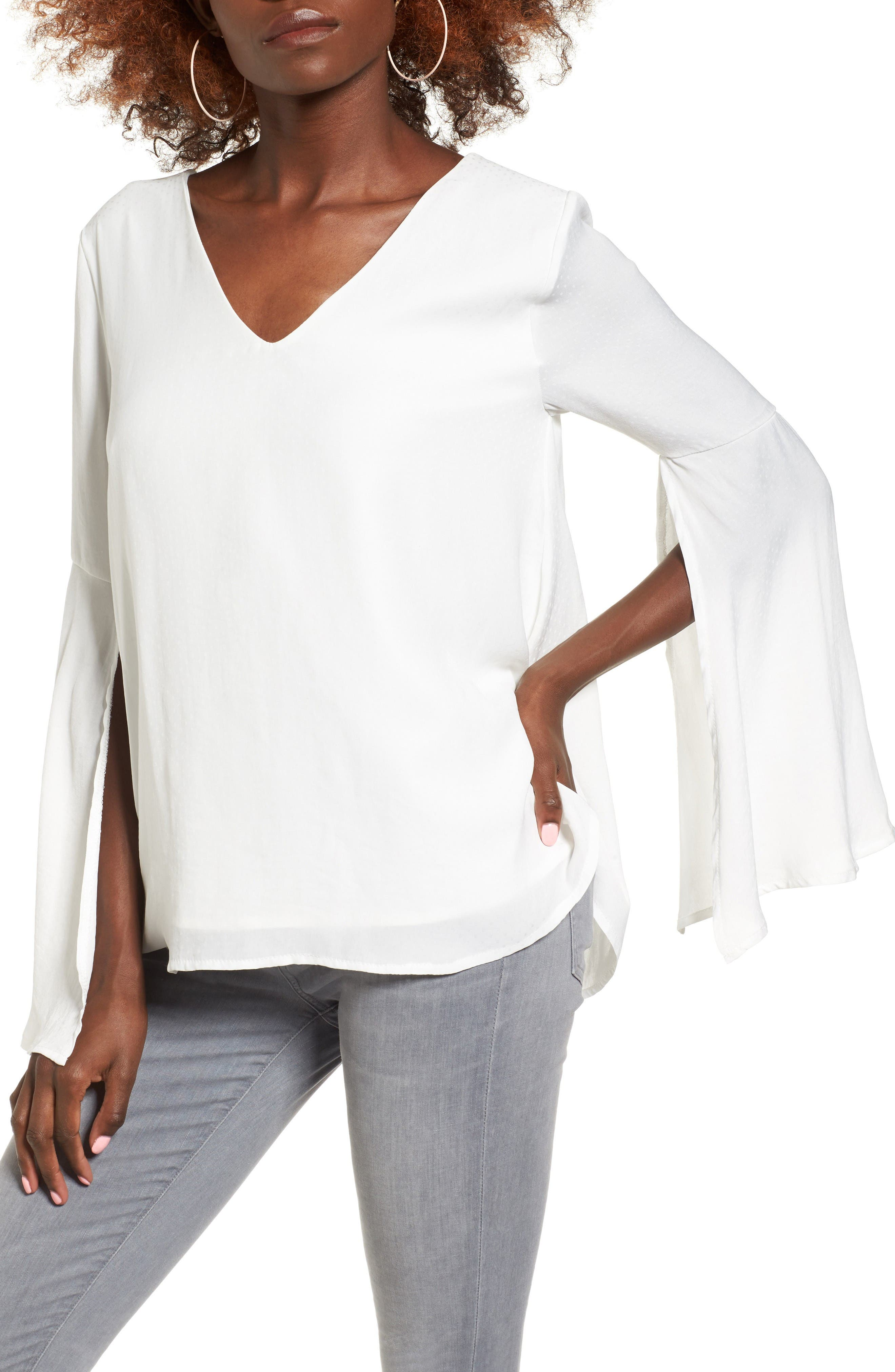 Split Sleeve Top,                         Main,                         color, White