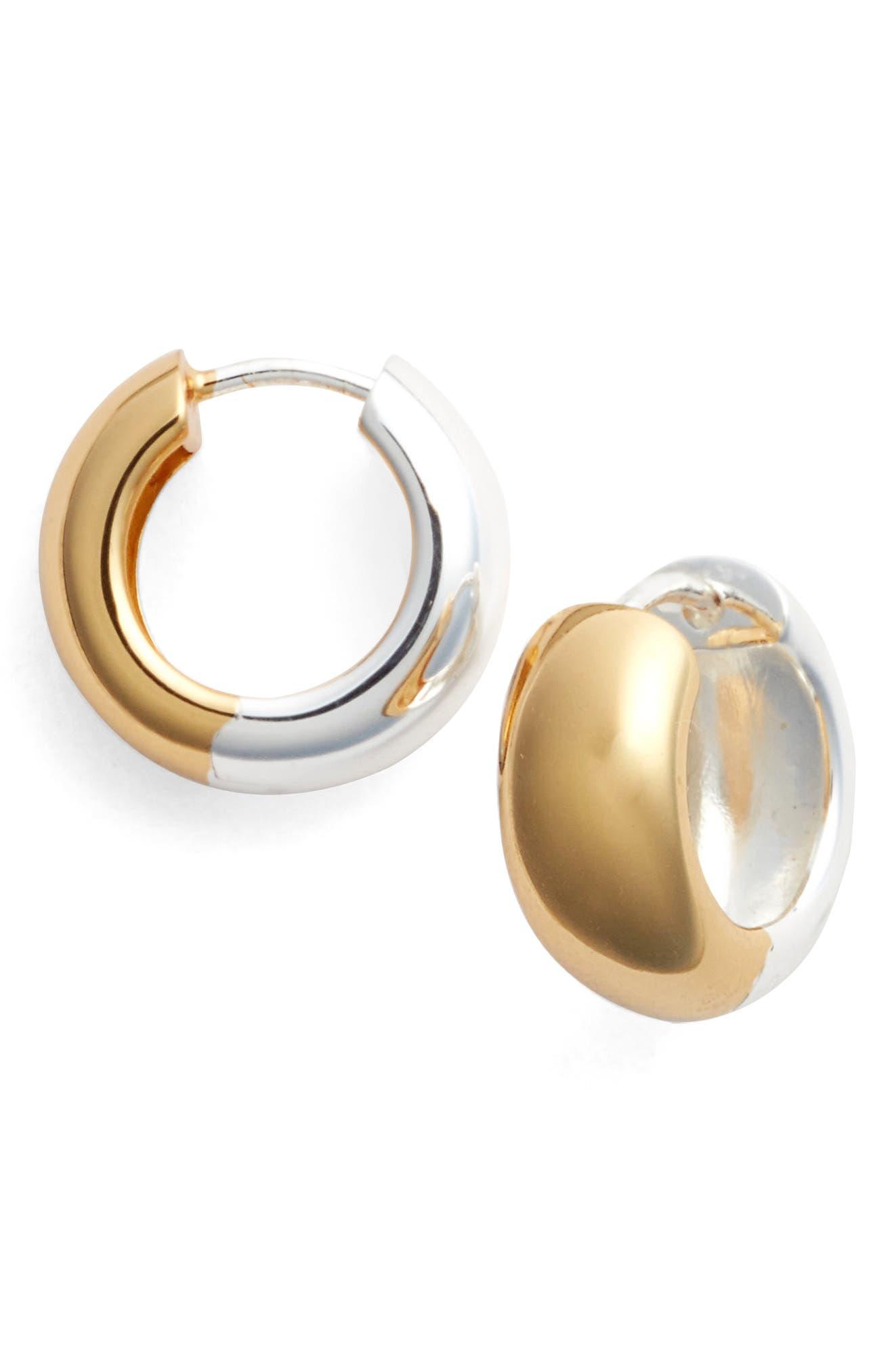 Hoop Earrings,                         Main,                         color, Silver/ Gold