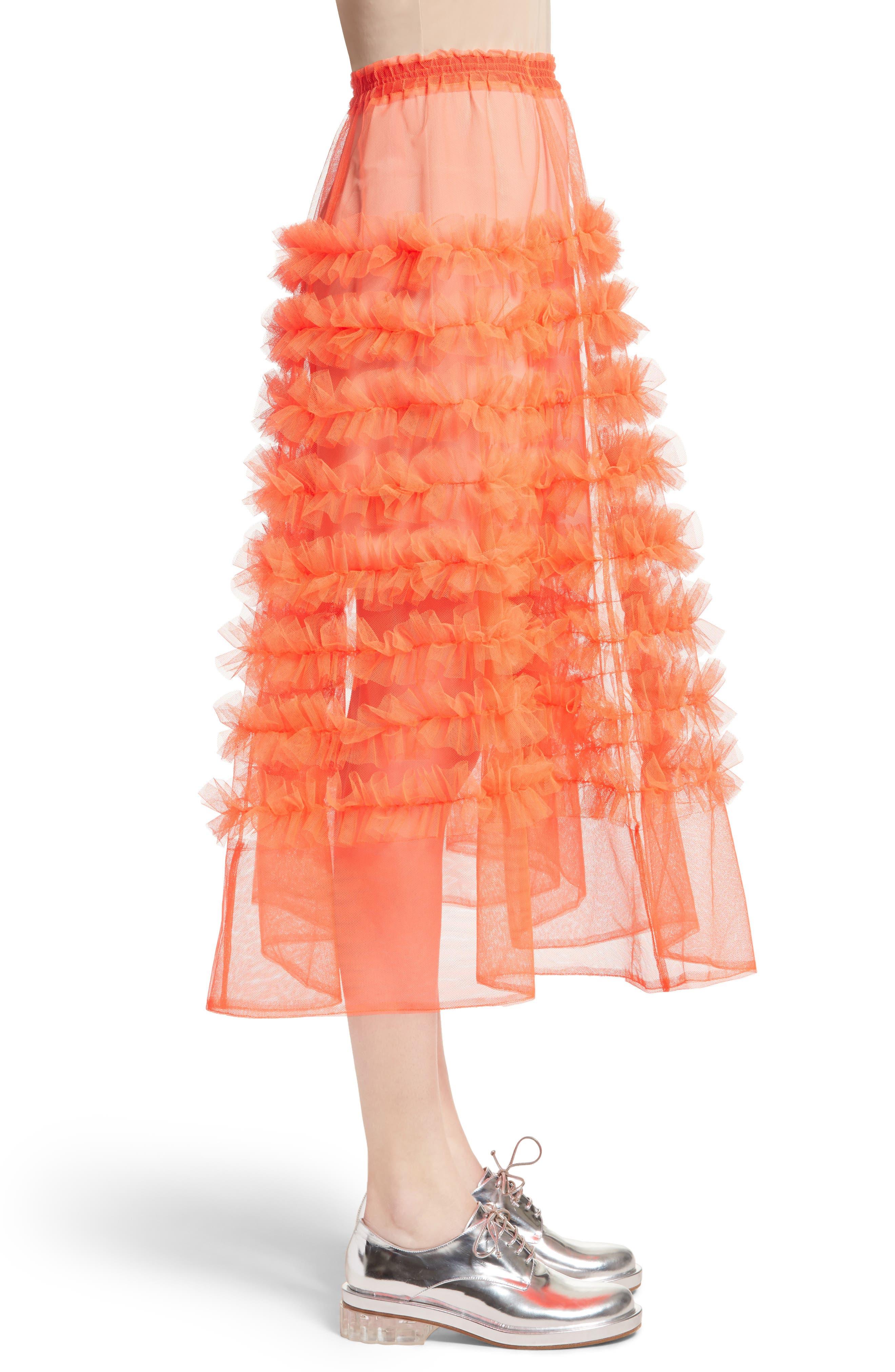 Melanie Tulle Skirt,                             Alternate thumbnail 5, color,                             Neon Tangerine