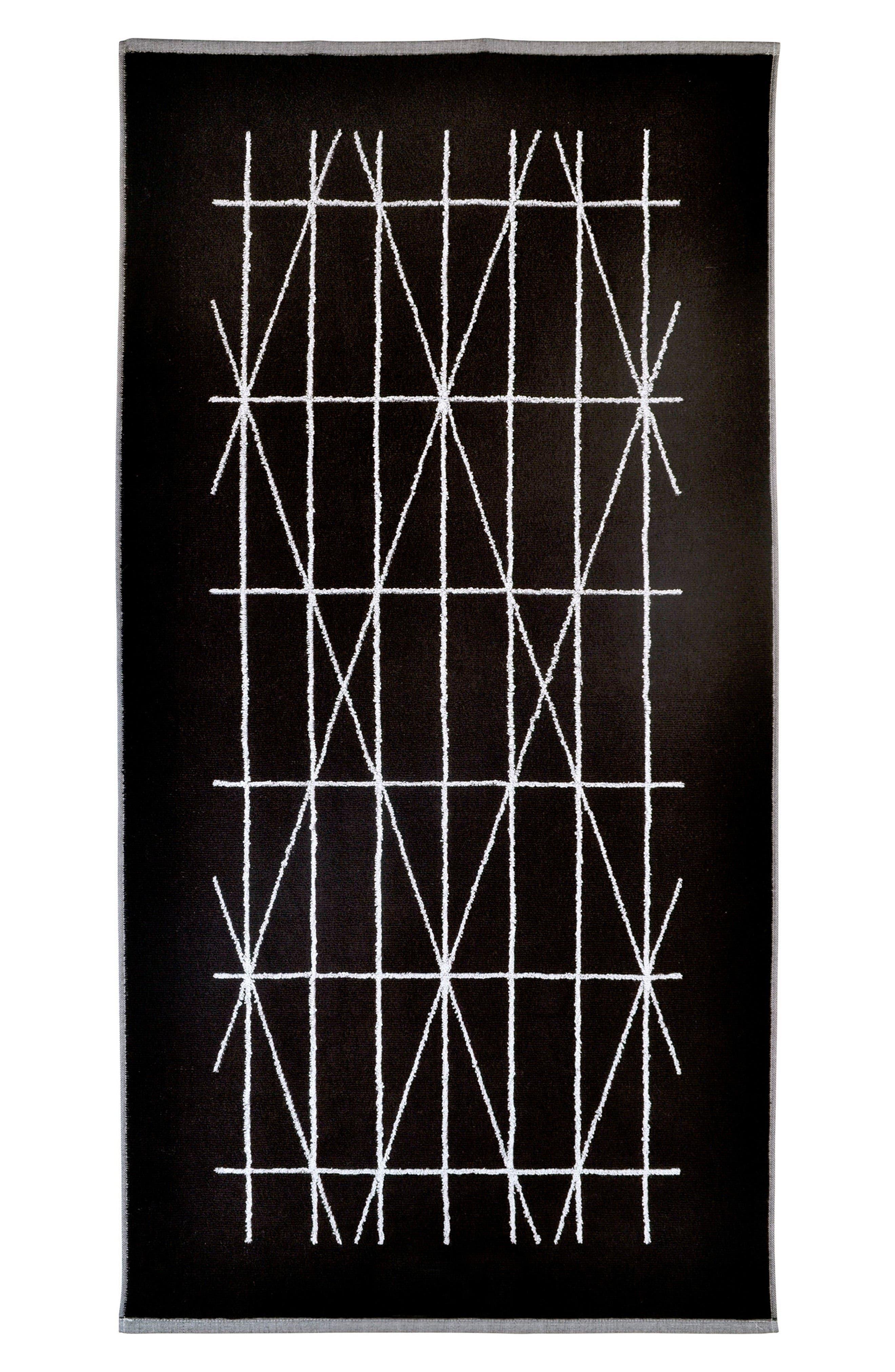 Geometrix Fingertip Towel,                             Main thumbnail 1, color,                             White/ Black