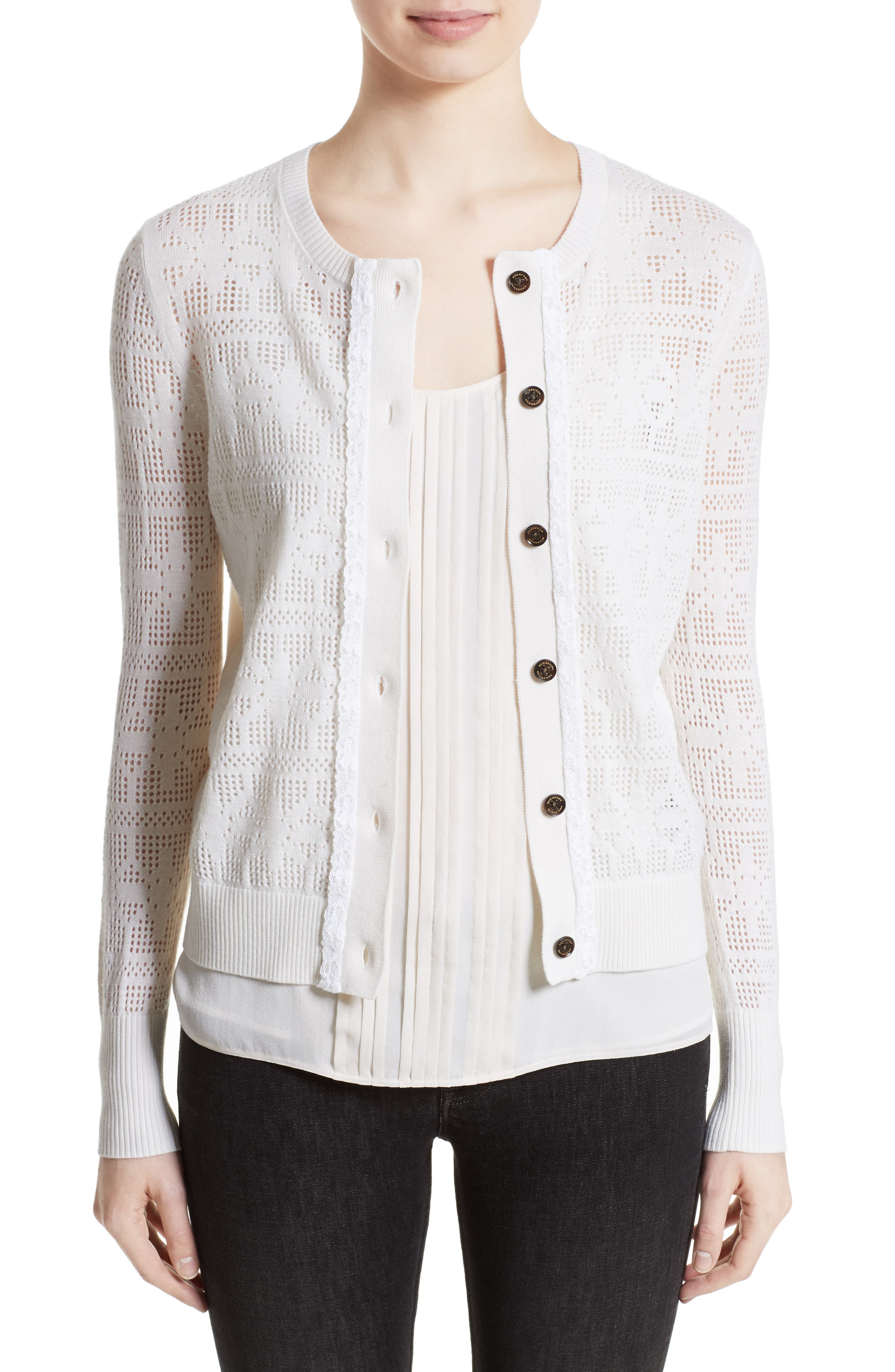River Elvo Wool & Cashmere Cardigan,                         Main,                         color, Natural White