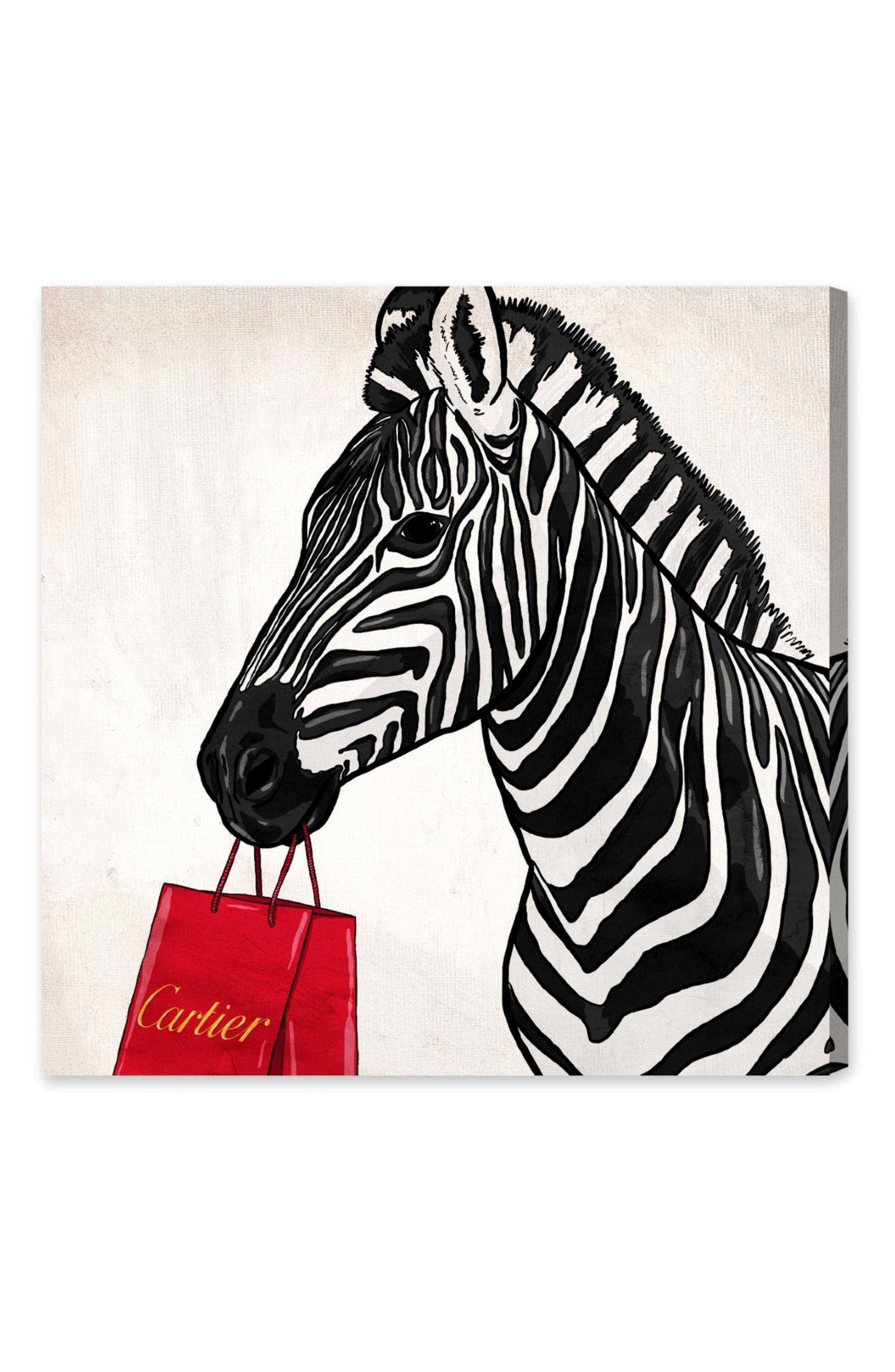 Expensive Zebra Canvas Wall Art,                         Main,                         color, White