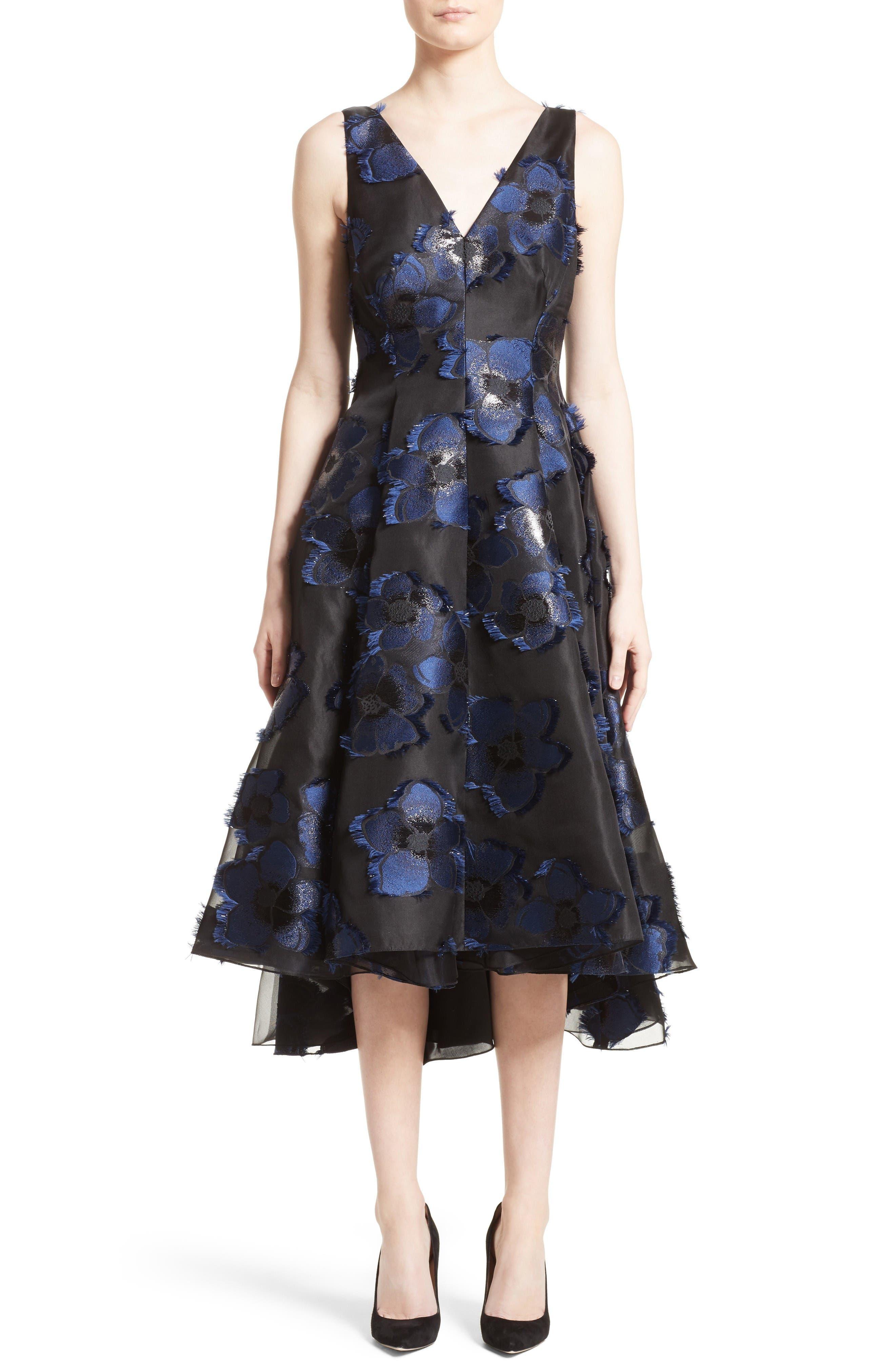 High/Low Metallic Fil Coupé Dress,                         Main,                         color, Navy