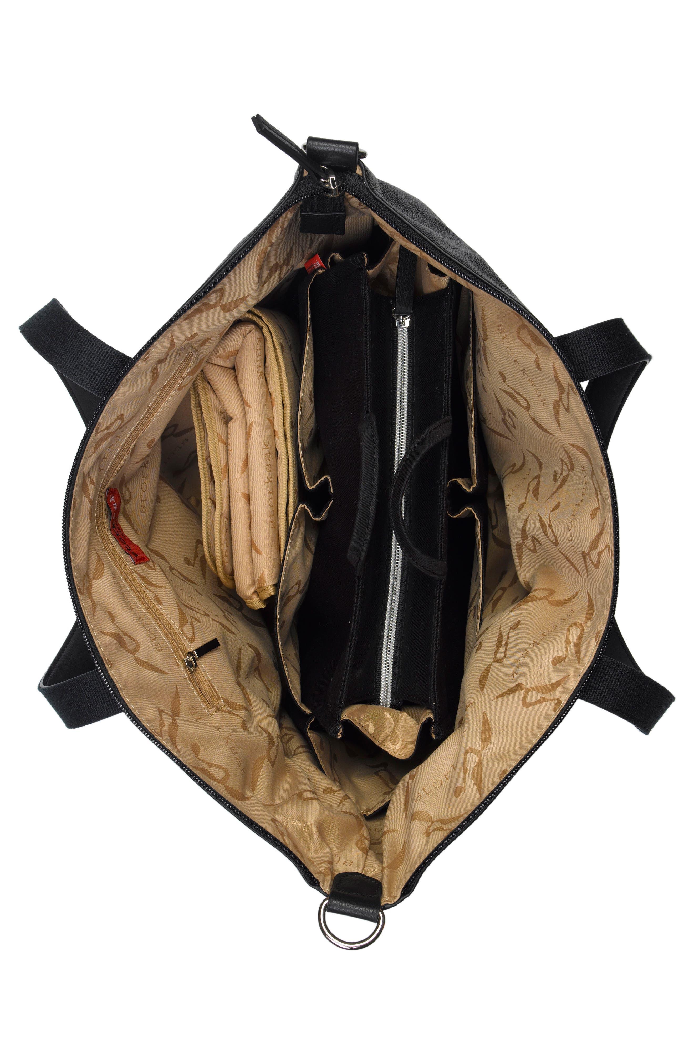 NOA Leather Diaper Bag,                             Alternate thumbnail 3, color,                             Black