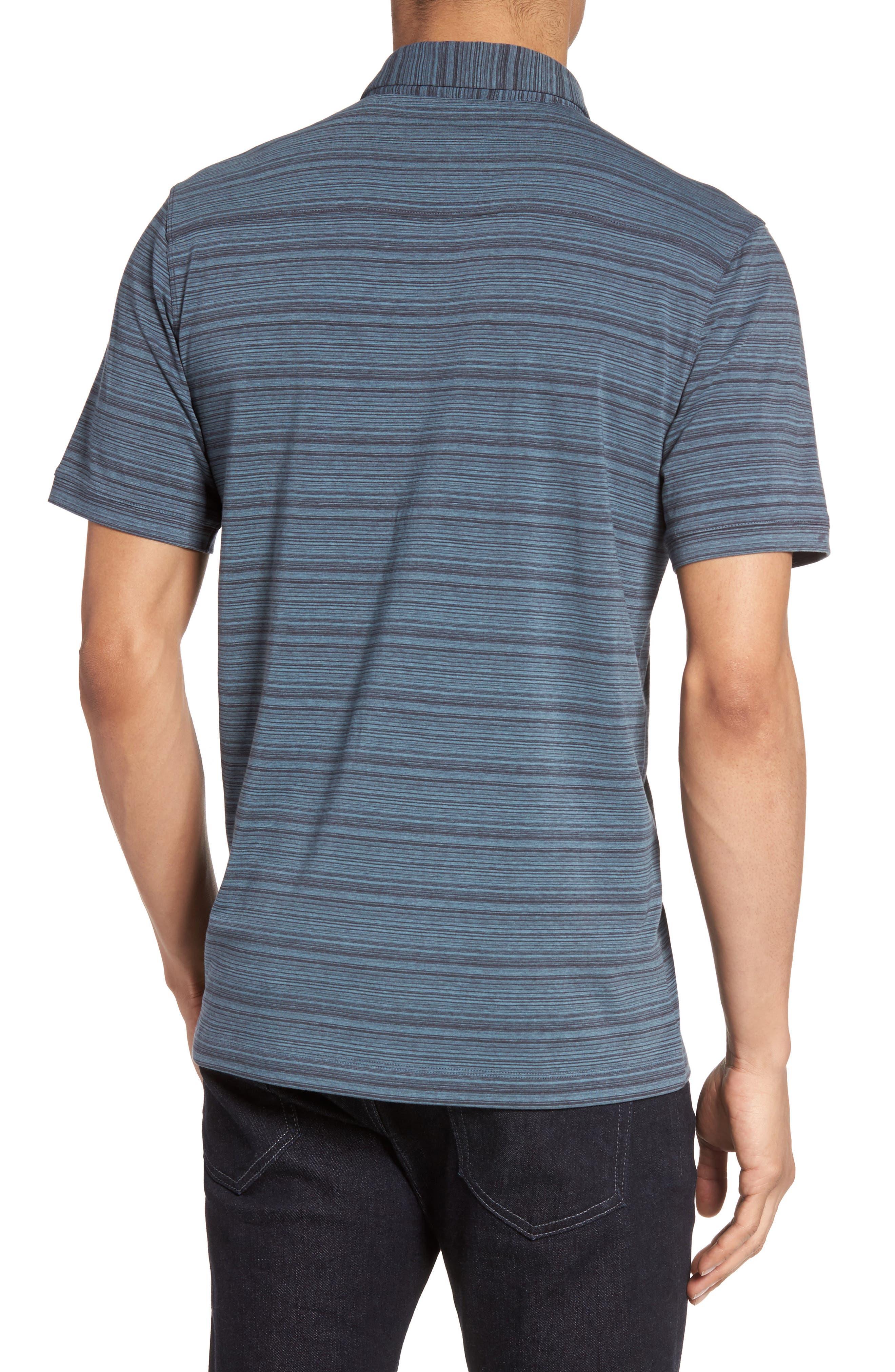 Trim Fit Stripe Polo,                             Alternate thumbnail 2, color,                             Blue Dusk Varied Stripe