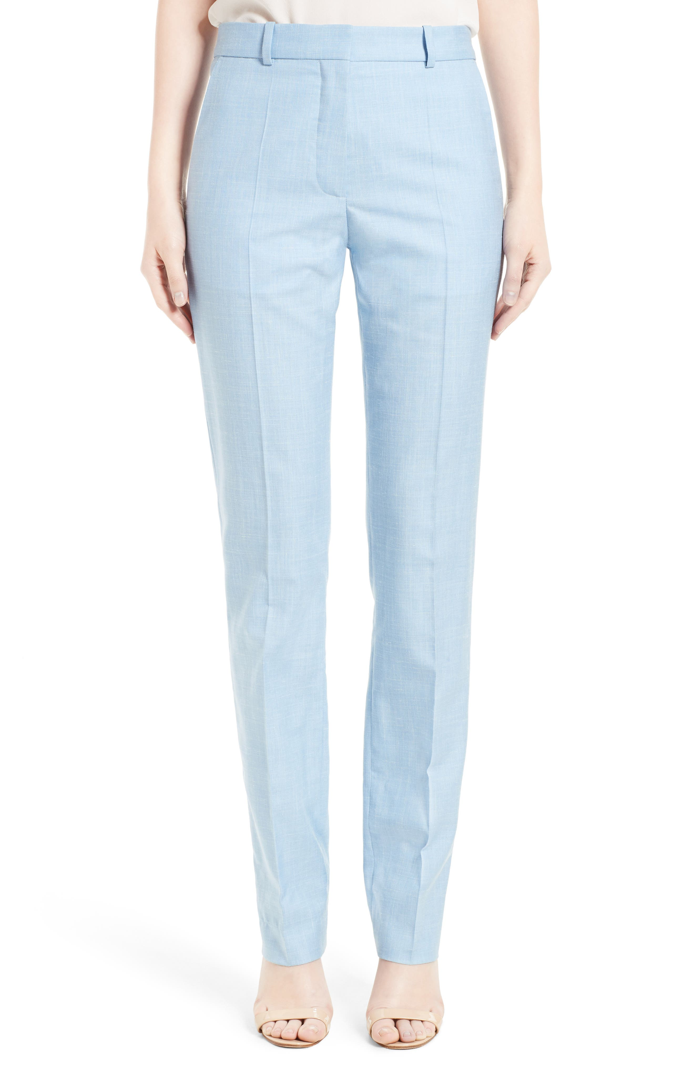 Victoria Beckham Mélange Wool Slim Trousers