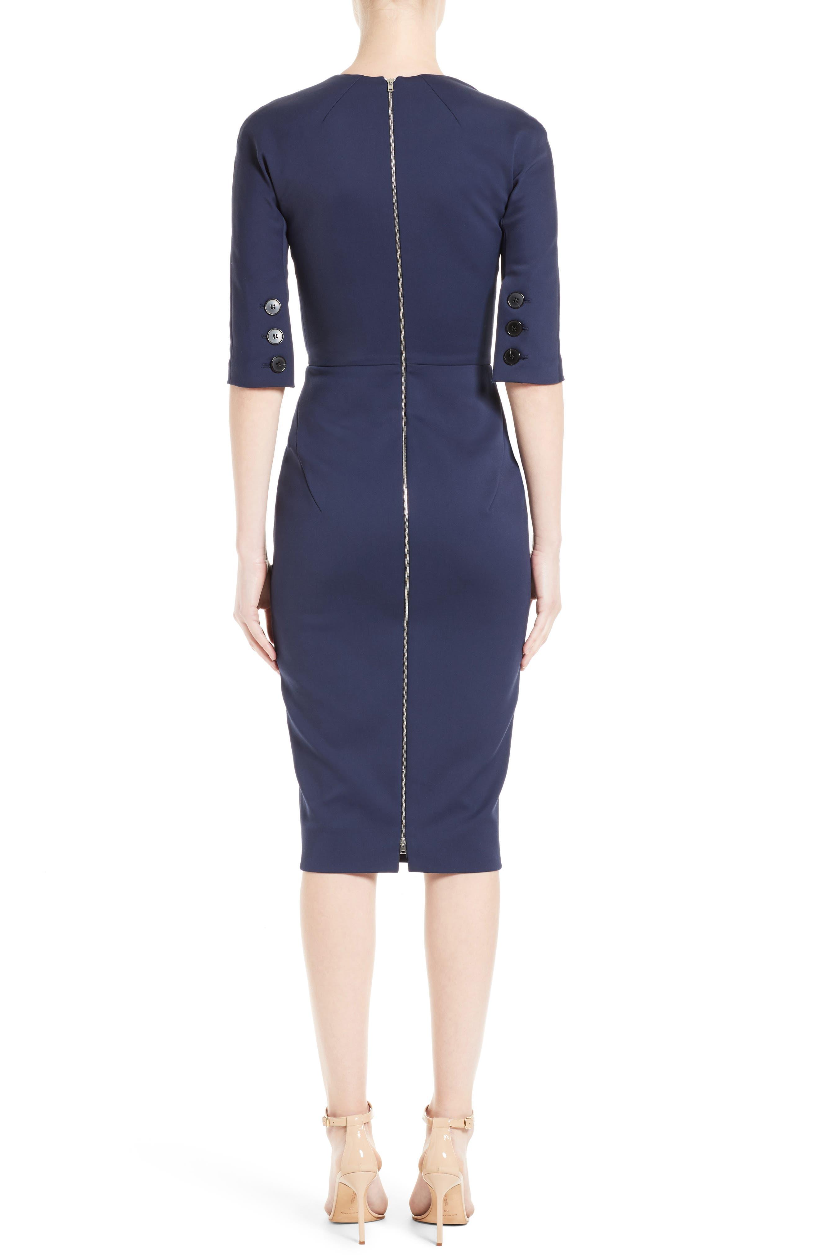Cotton Blend Sheath Dress,                             Alternate thumbnail 2, color,                             Navy