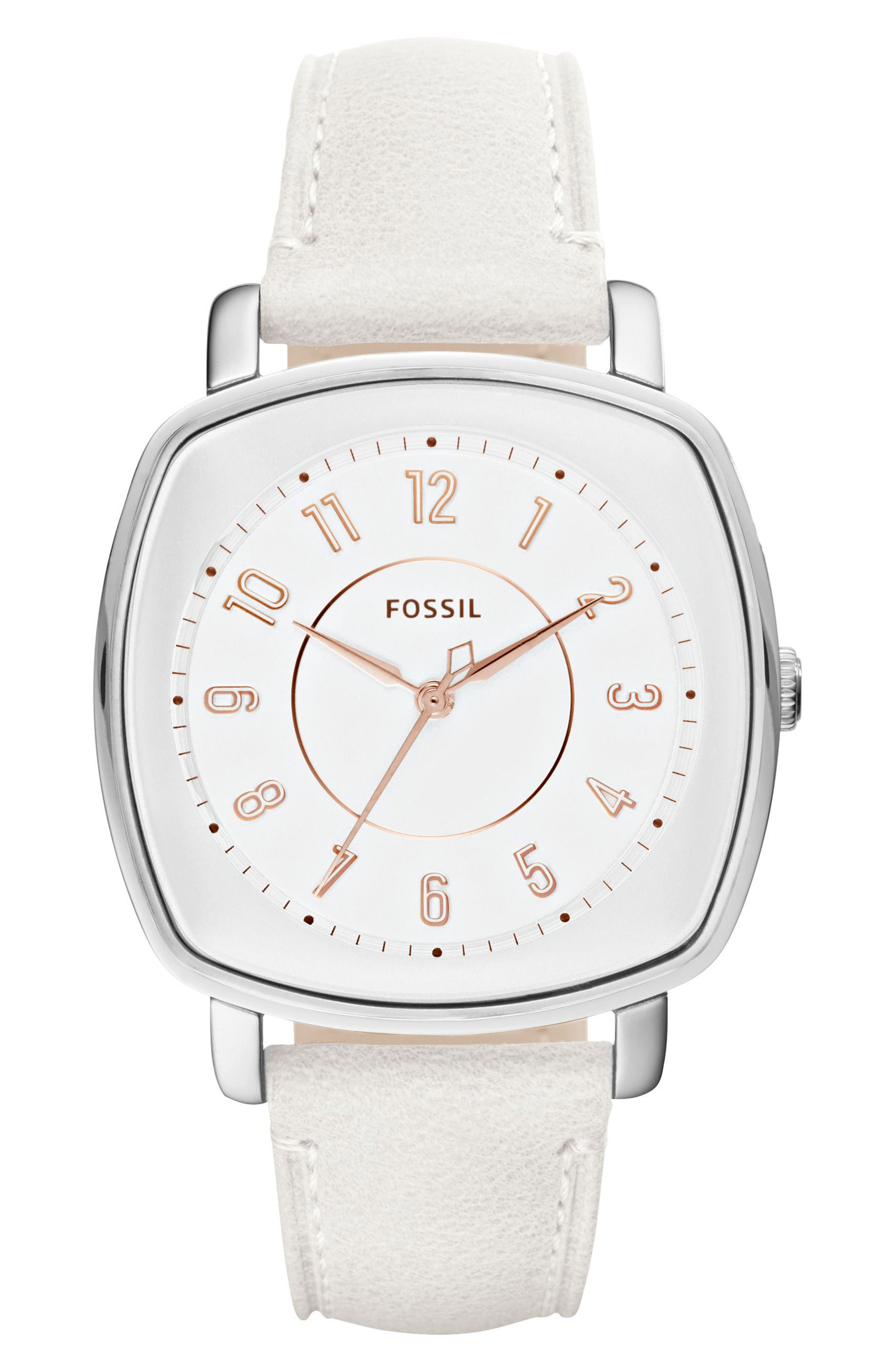 Main Image - Fossil 'Idealist' Leather Strap Watch, 38mm