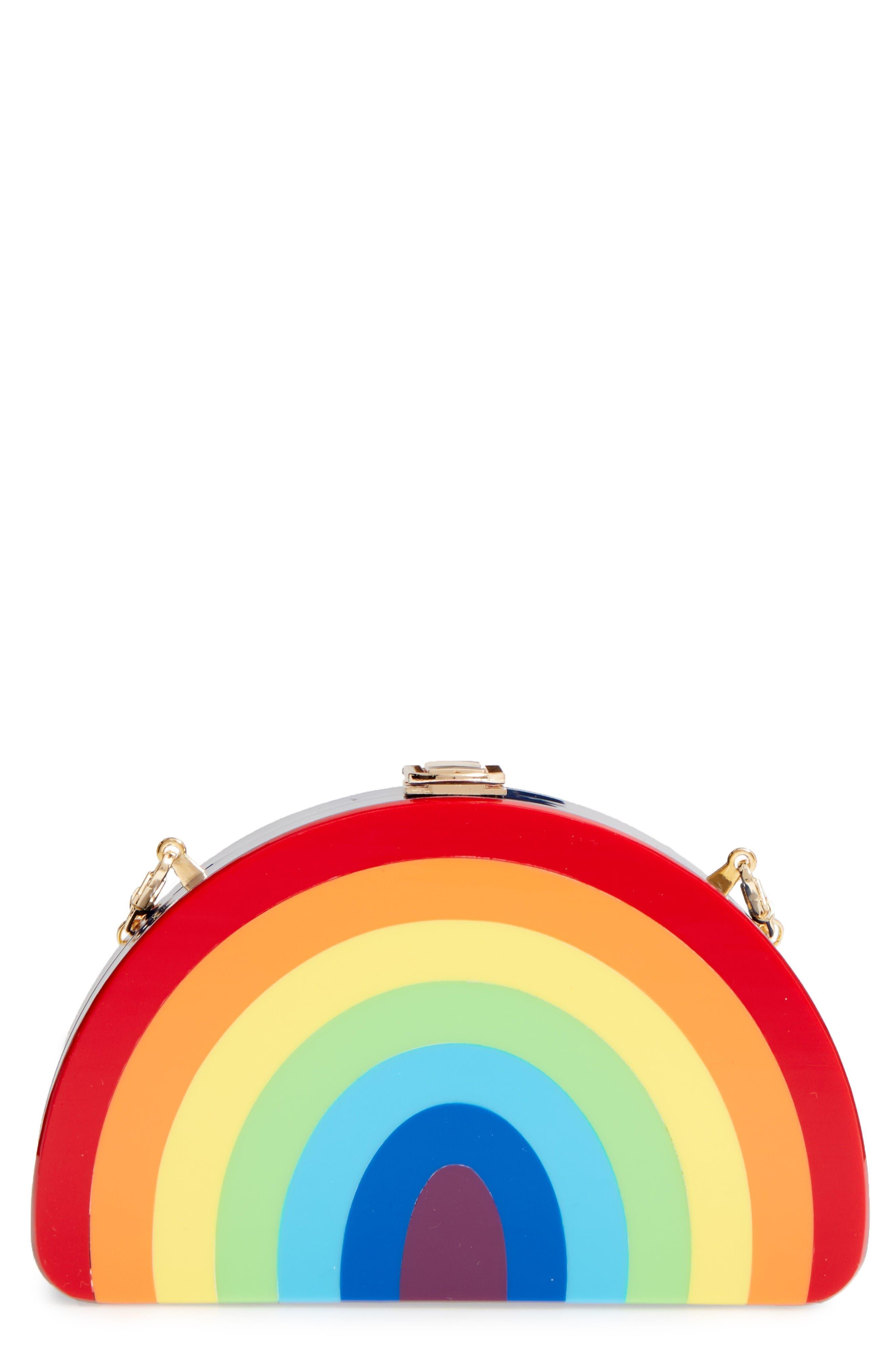 Rainbow Half Moon Clutch,                         Main,                         color, Multi