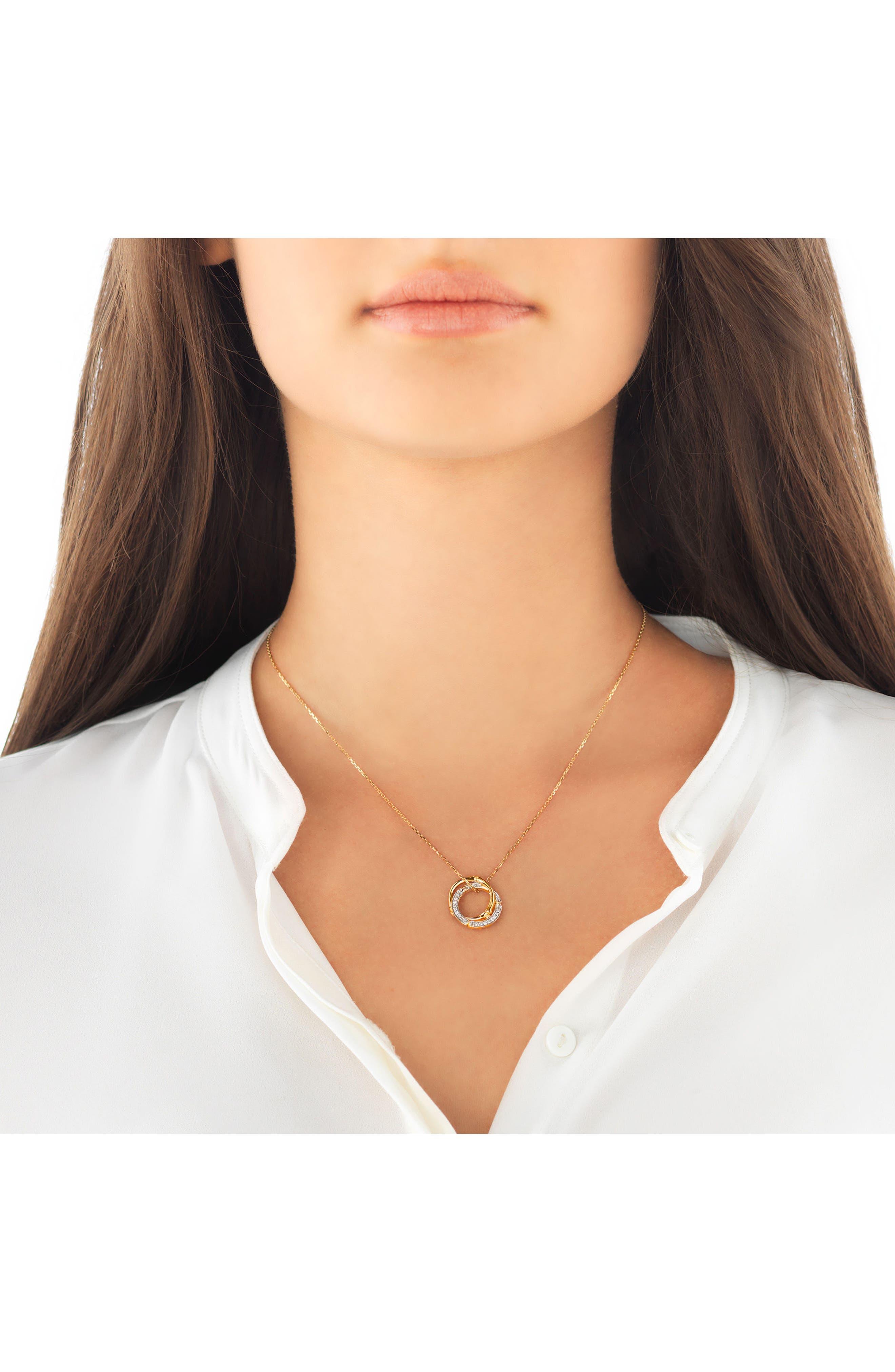 Bamboo Diamond & 18k Gold Pendant Necklace,                             Alternate thumbnail 2, color,                             Gold