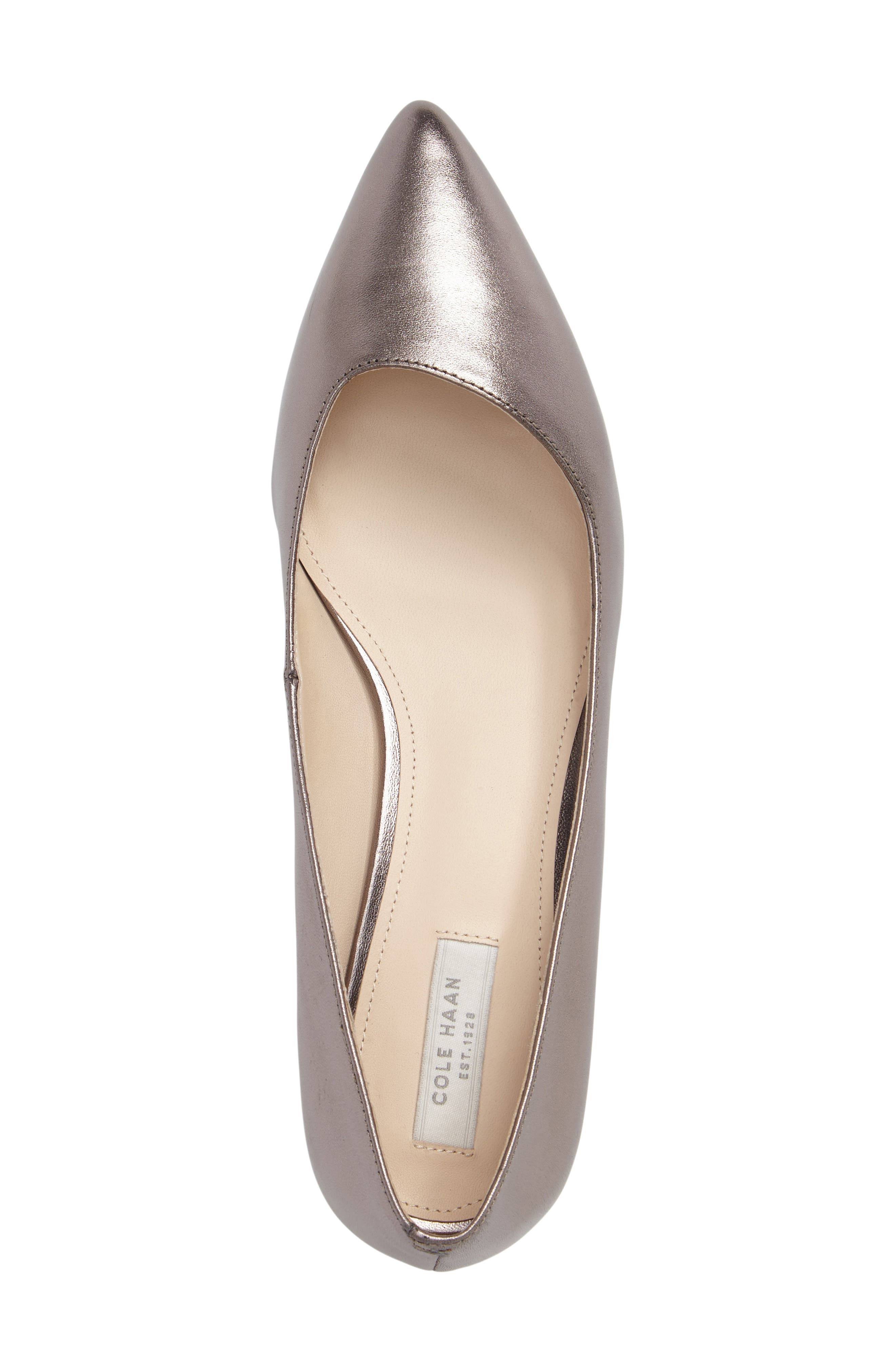 Heidy Pointy Toe Flat,                             Alternate thumbnail 5, color,                             Pewter Metallic Leather