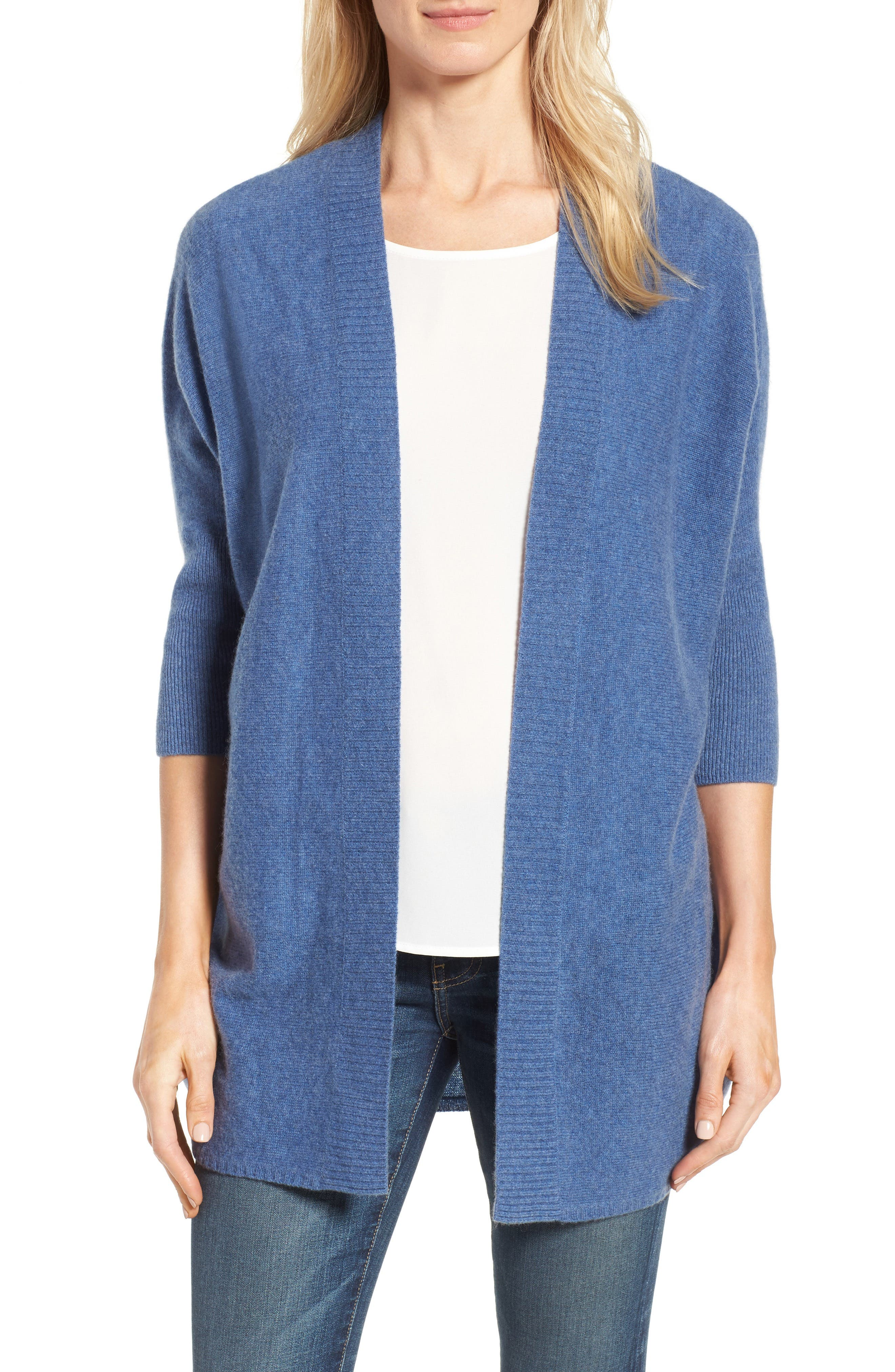 Halogen® Three-Quarter Sleeve Cashmere Cardigan