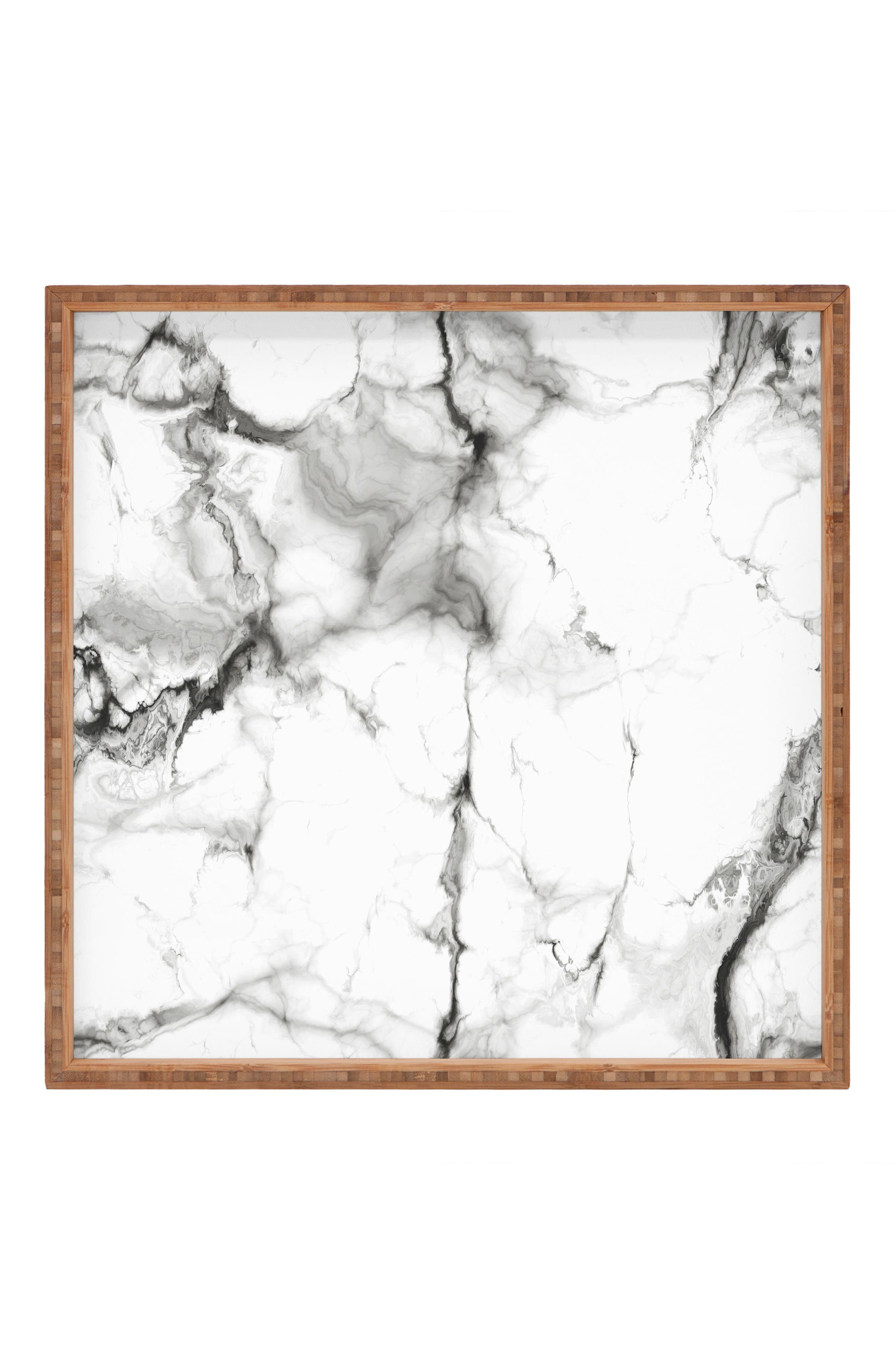 Marble Square Tray,                         Main,                         color, Grey