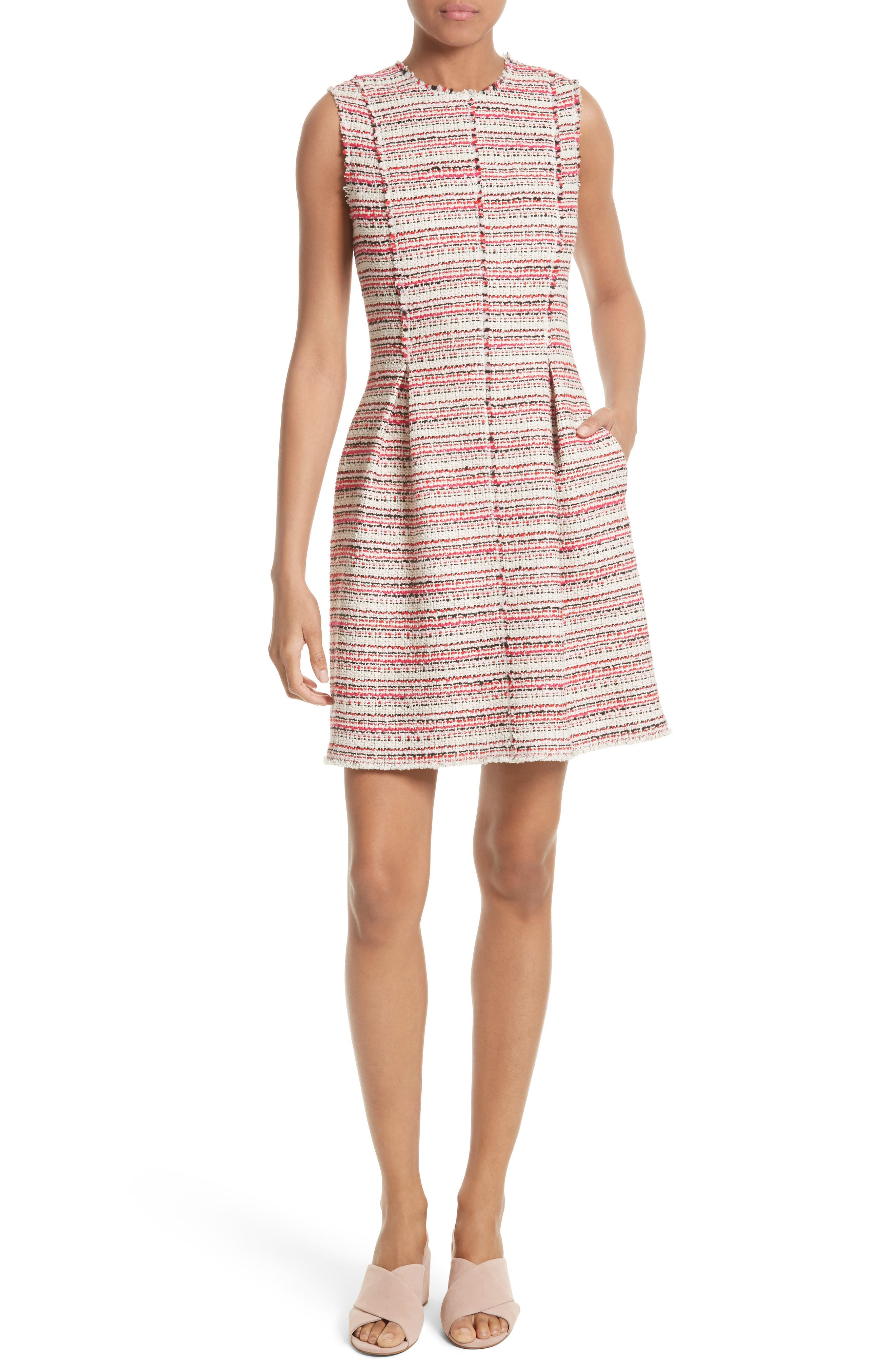 Optic Tweed Fit & Flare Dress,                         Main,                         color, Candy Apple Combo