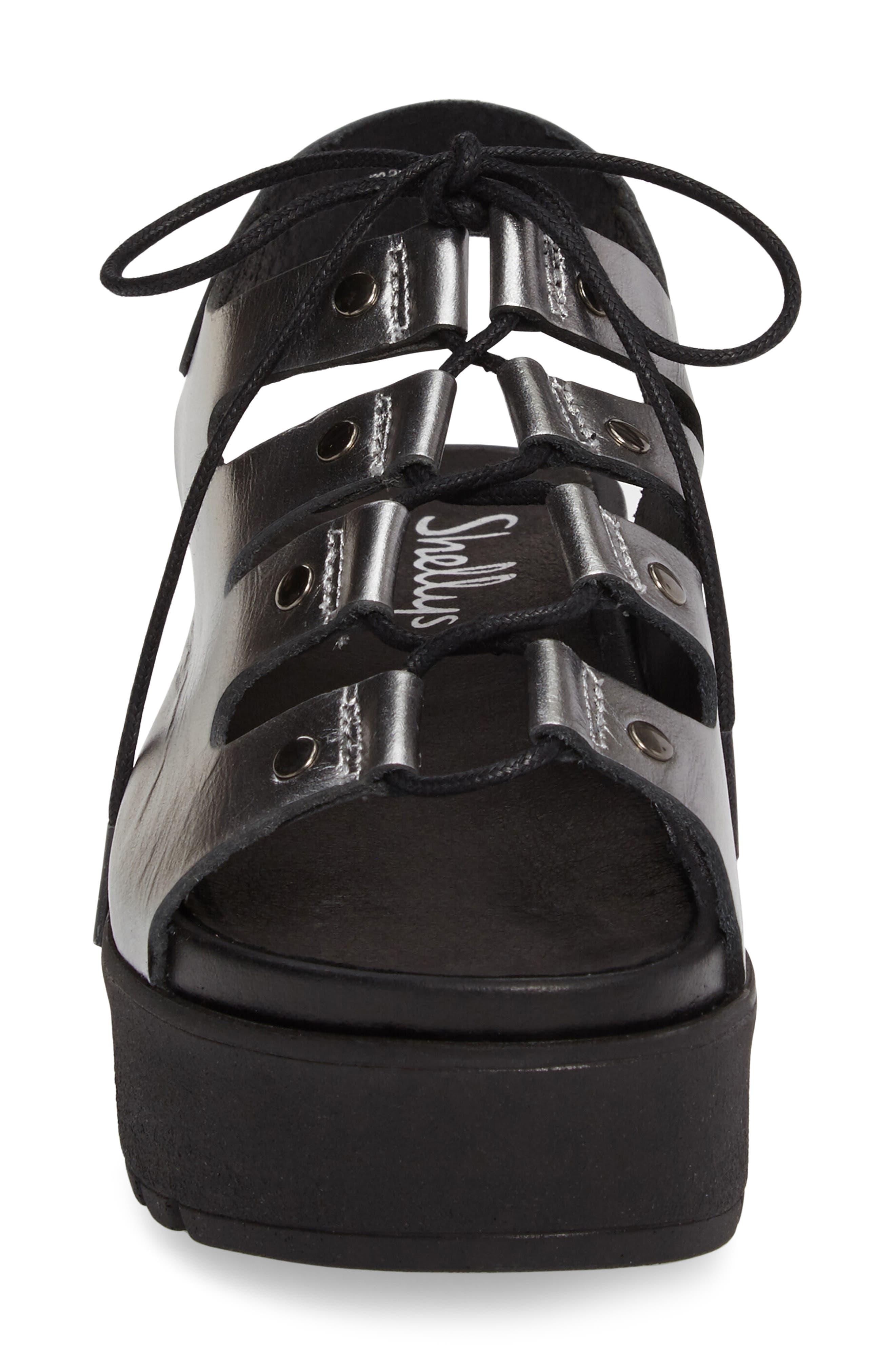 Kacey Platform Sandal,                             Alternate thumbnail 4, color,                             Pewter