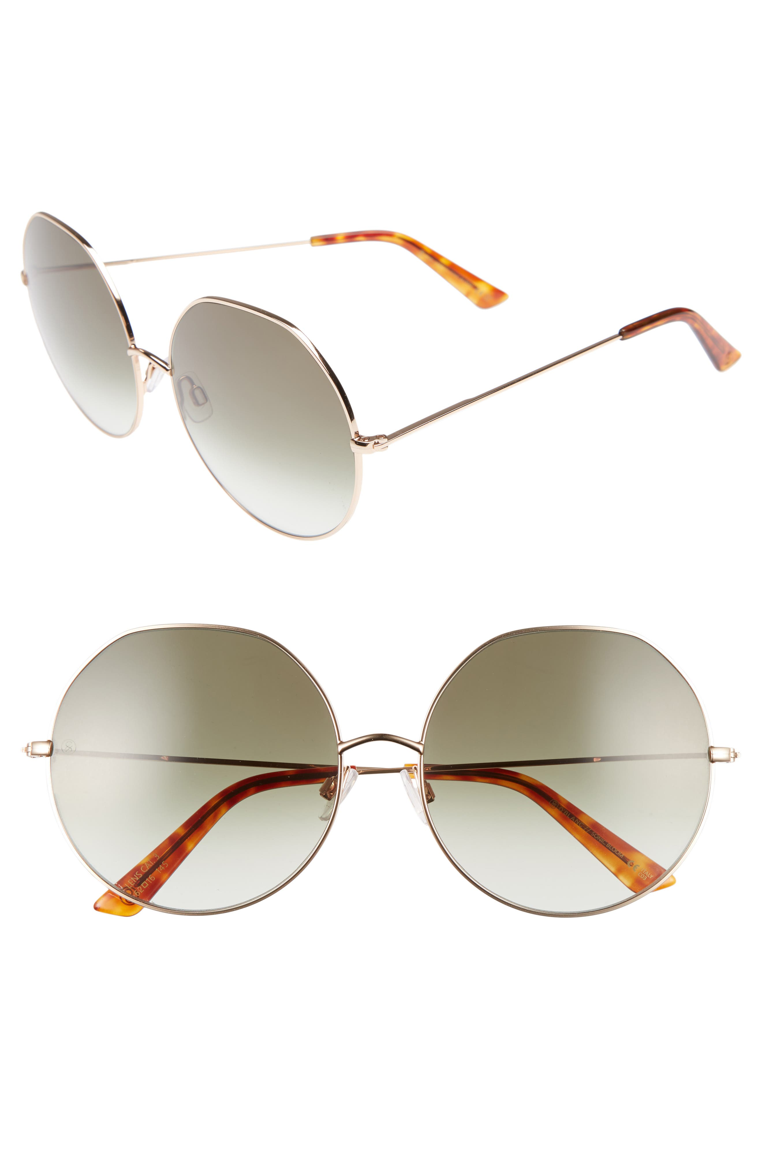 D'BLANC Sonic Boom 62mm Gradient Round Sunglasses,                         Main,                         color, Polished Gold/ Olive Gradient