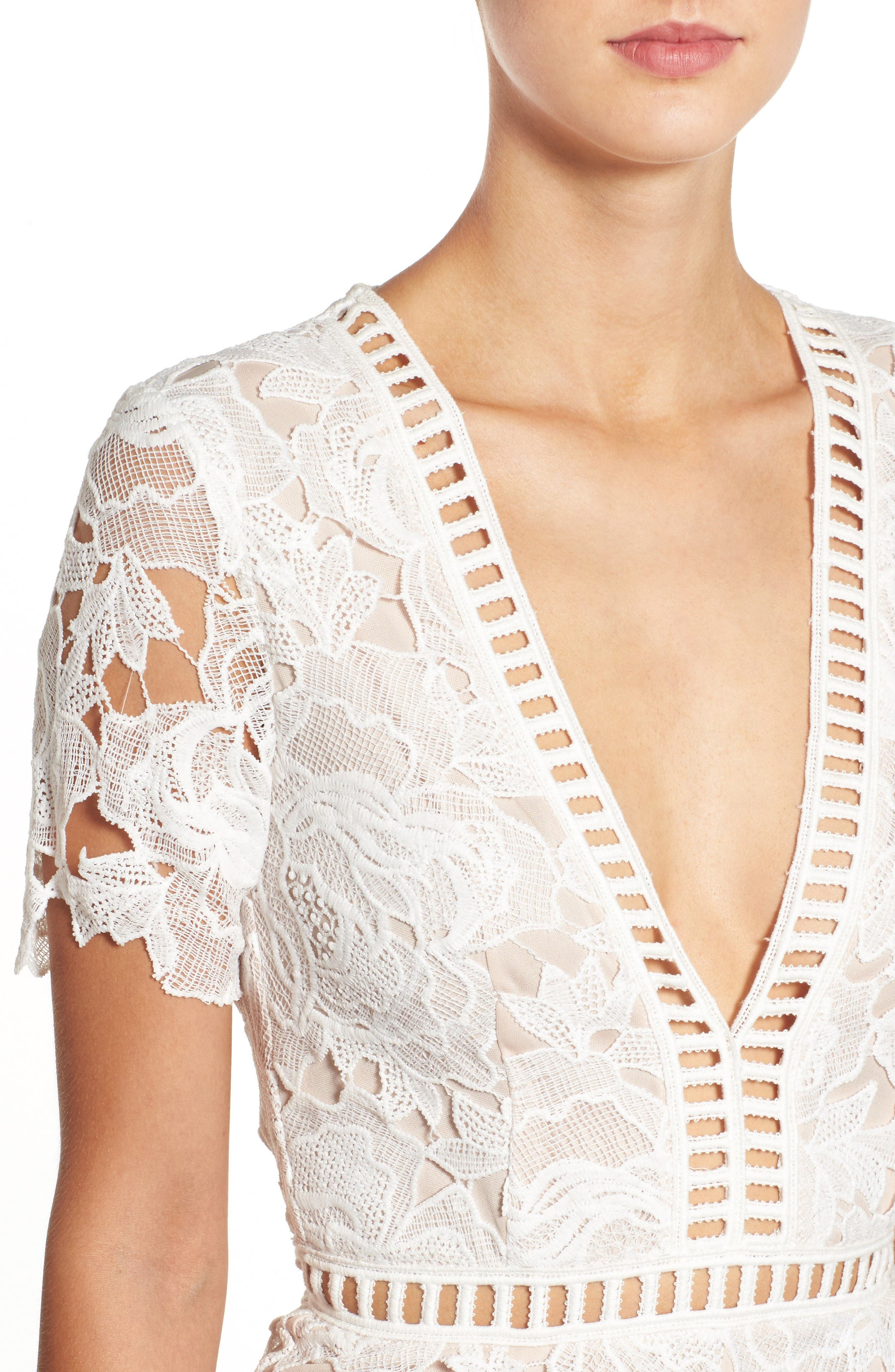 Ladder Inset Lace Romper,                             Alternate thumbnail 5, color,                             White/ Nude
