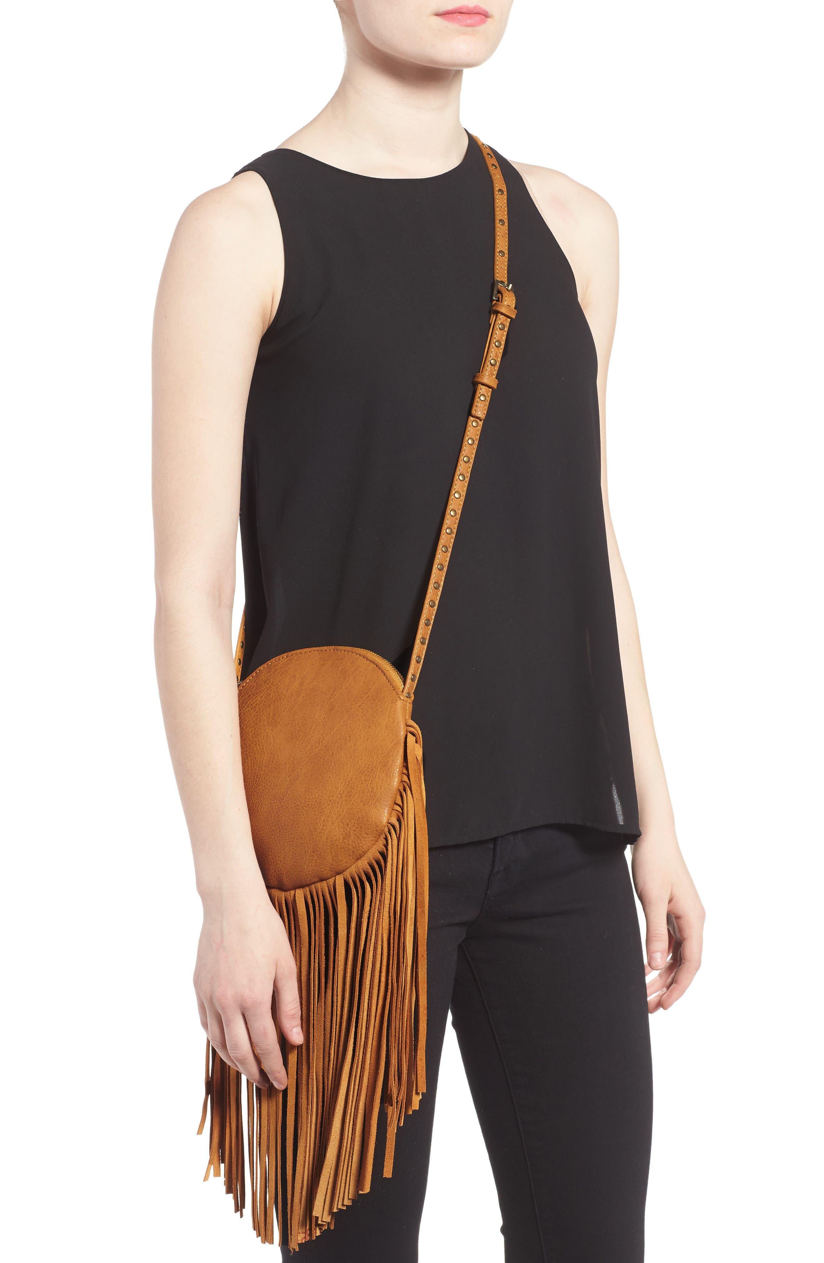 Alternate Image 2  - Street Level Fringe Faux Leather Round Crossbody Bag