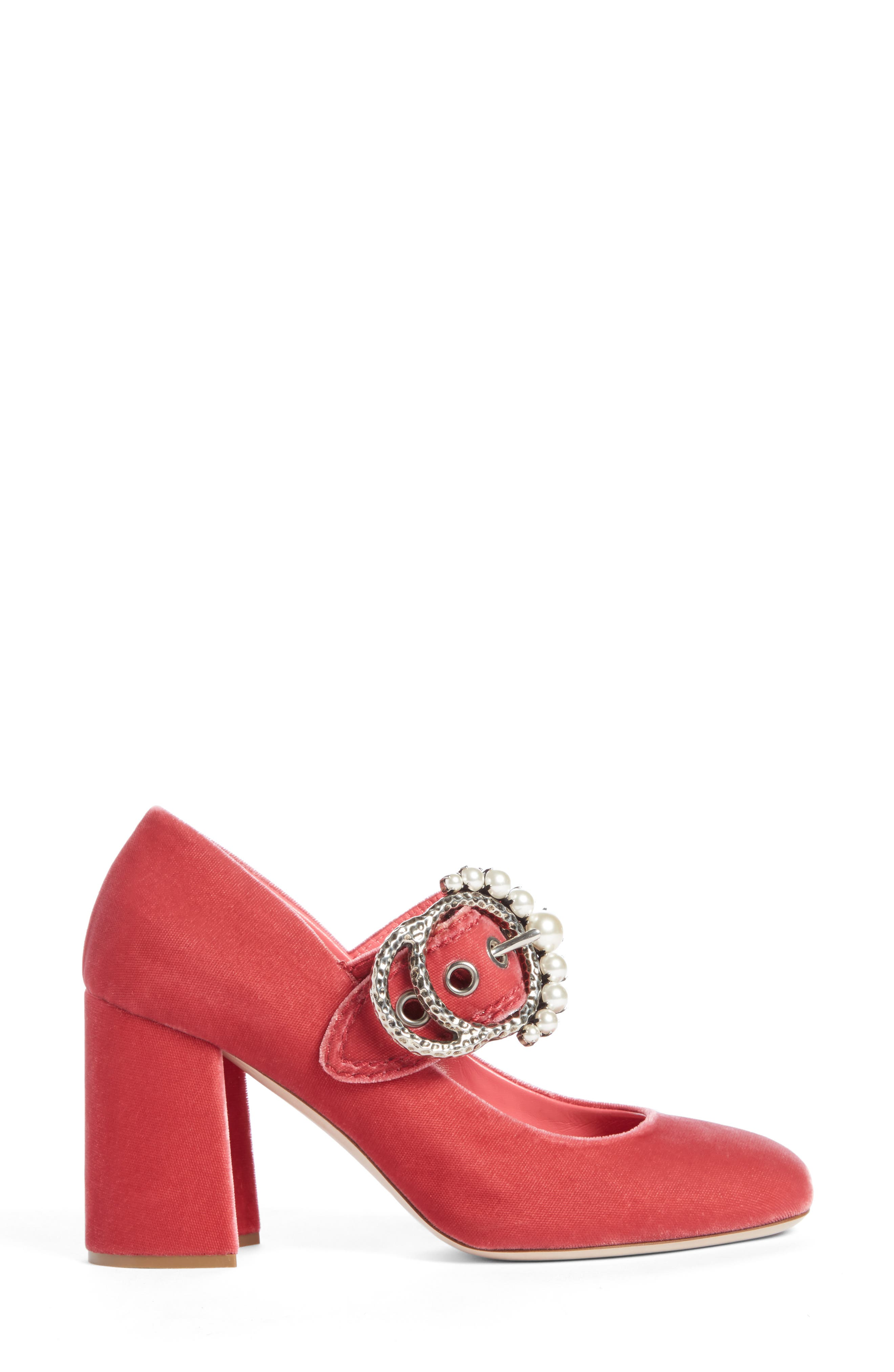 Alternate Image 4  - Miu Miu Imitation Pearl Buckle Pump (Women)