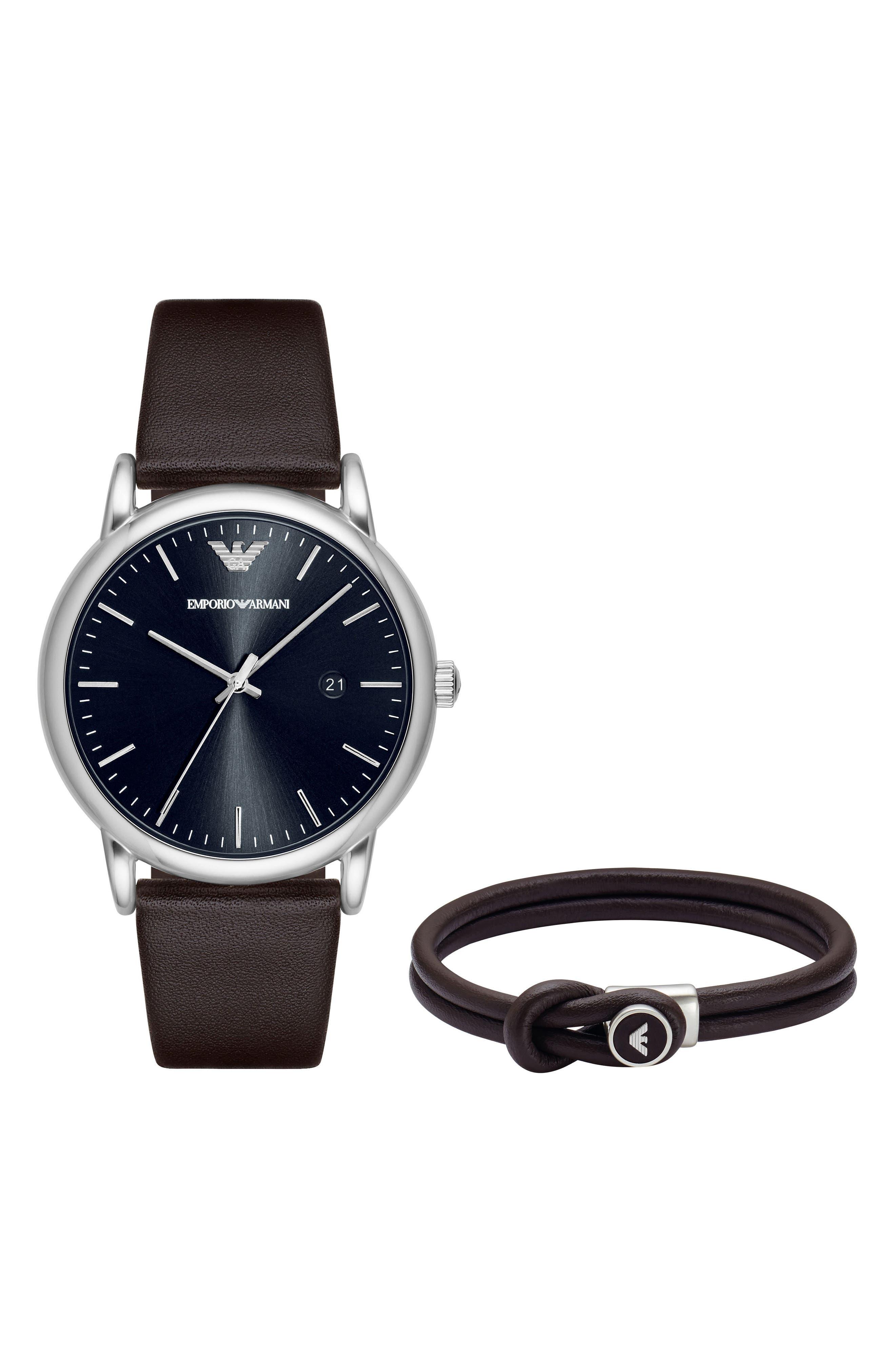 Leather Strap Watch Gift Set, 43mm,                         Main,                         color, Black/ Black