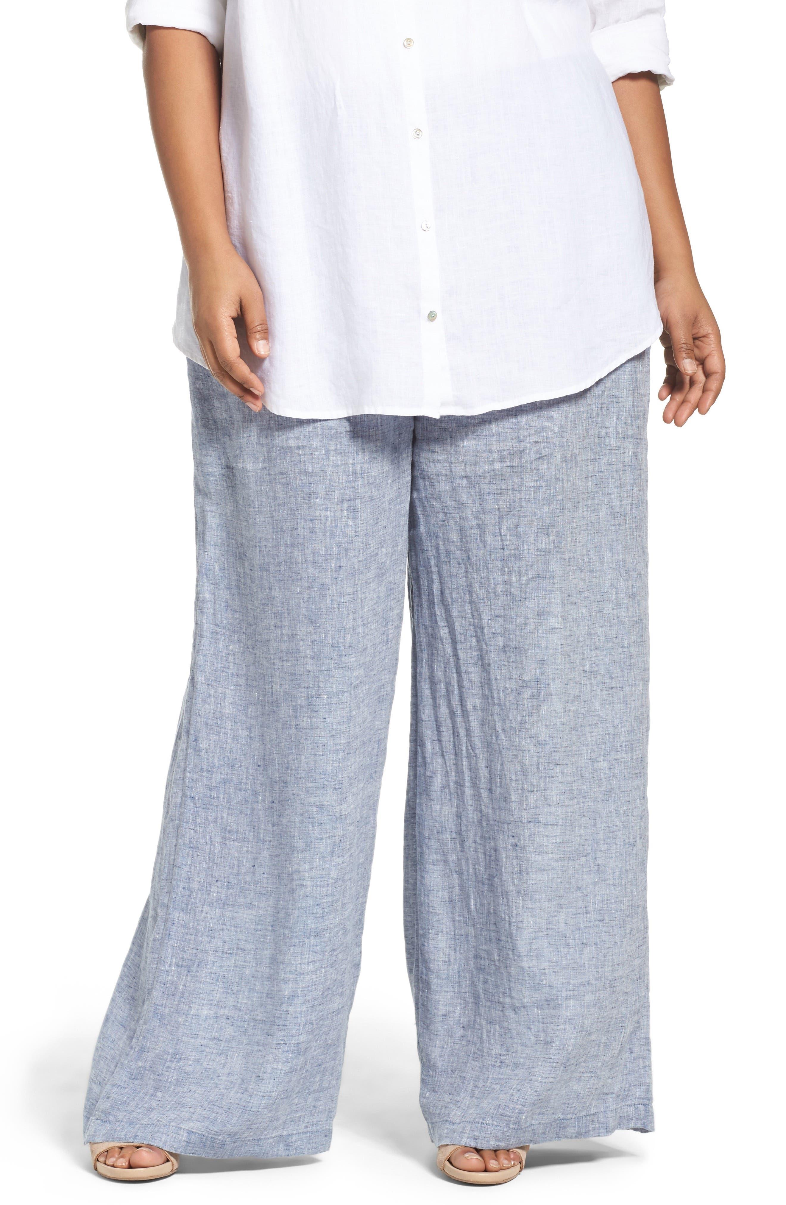 NIC+ZOE Drifty Linen Wide Leg Pants (Plus Size)