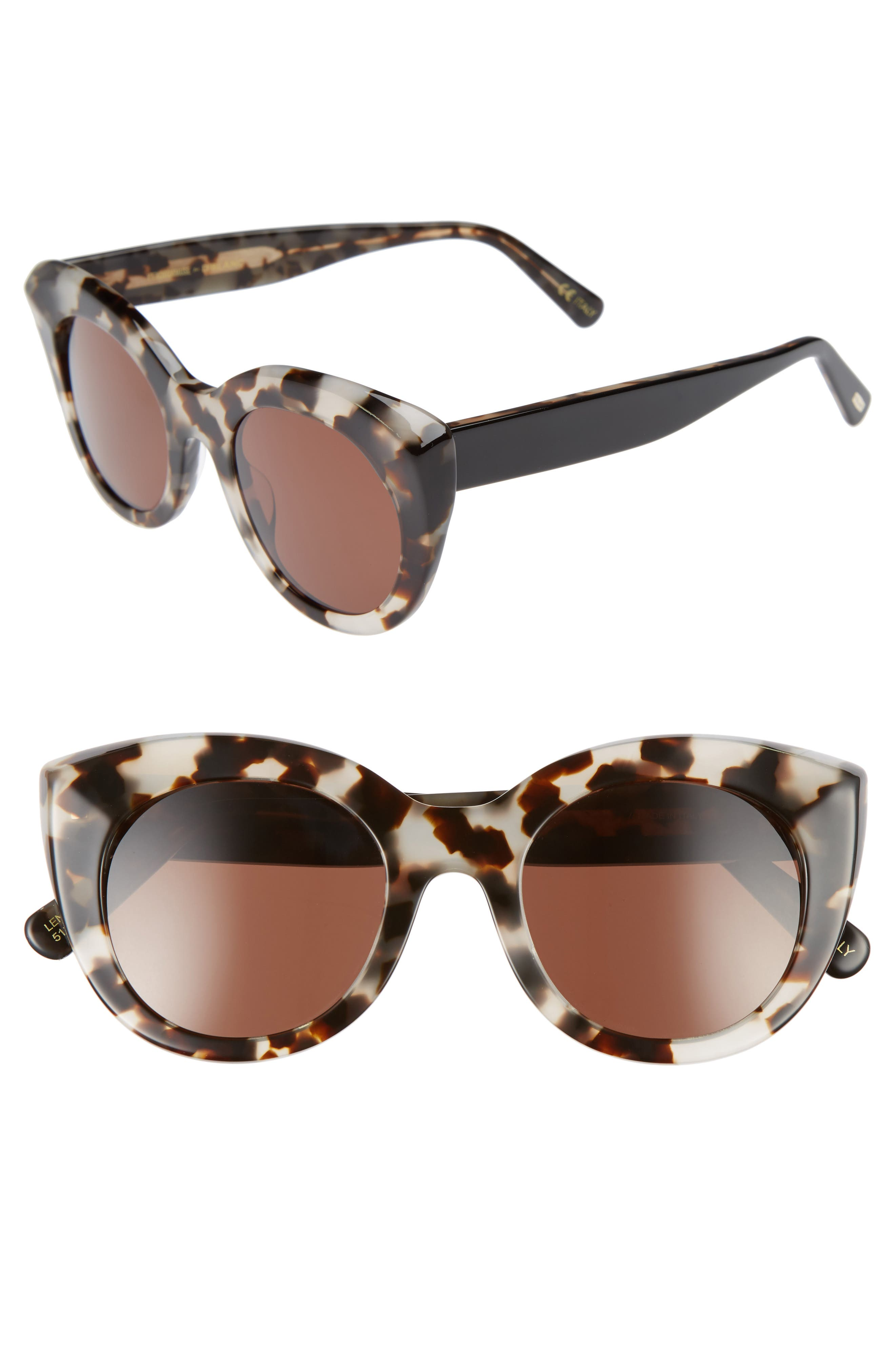 D'BLANC Modern Lover 49mm Cat-Eye Sunglasses,                         Main,                         color, Snow Leopard/ Brown